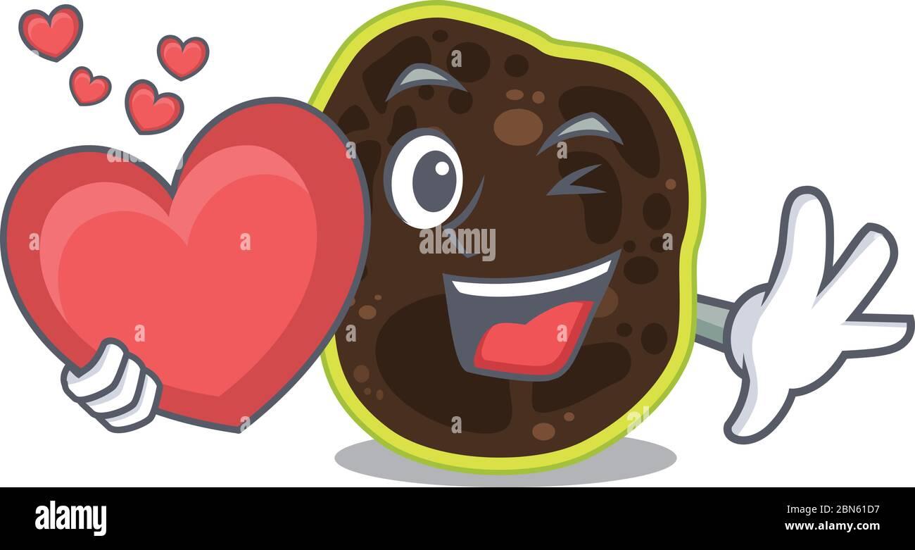 Un dulce estilo de los personajes de dibujos animados firmicutes que sostiene un gran corazón Ilustración del Vector