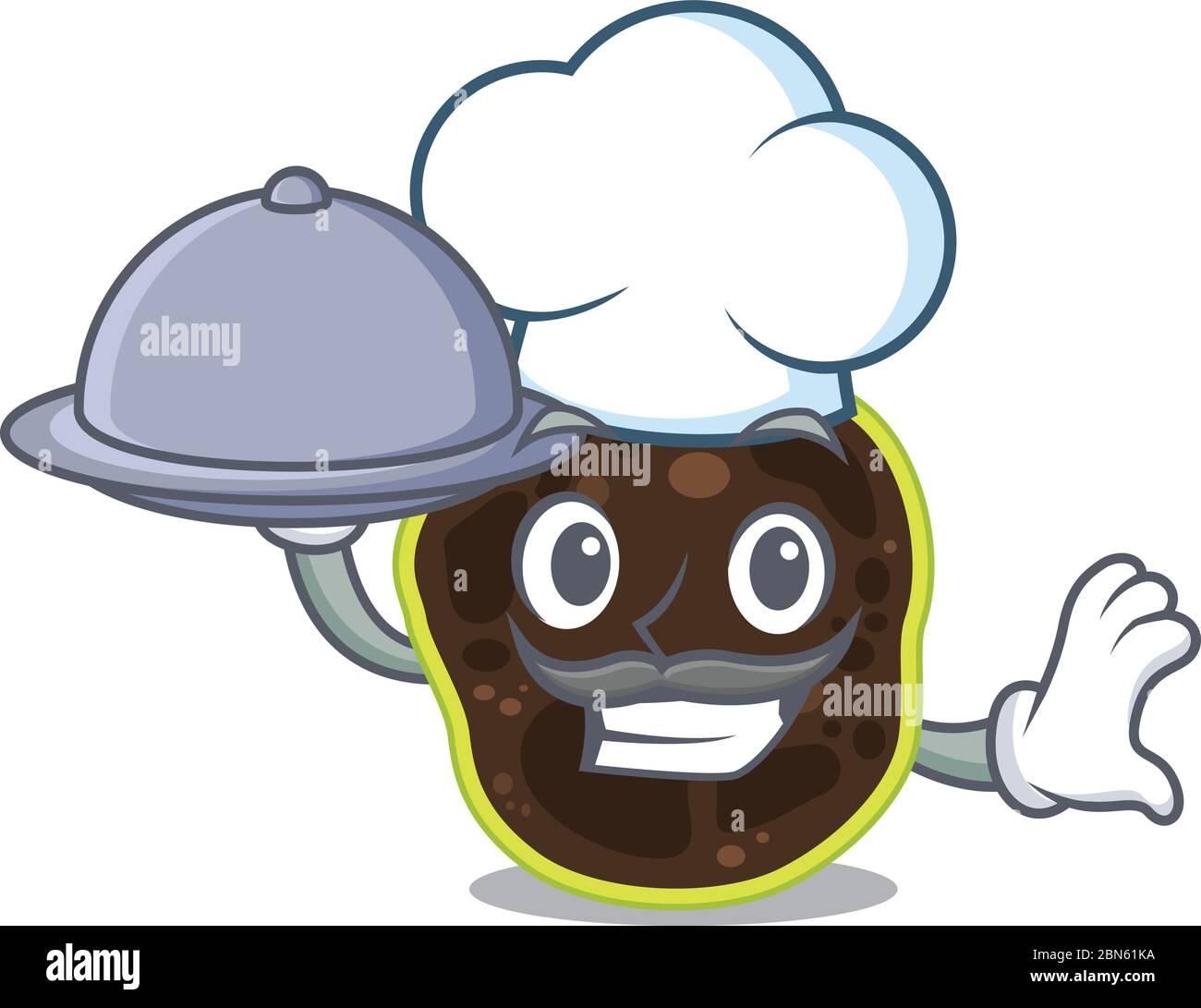 diseño de mascota del chef firmicutes que sirve comida en bandeja Ilustración del Vector