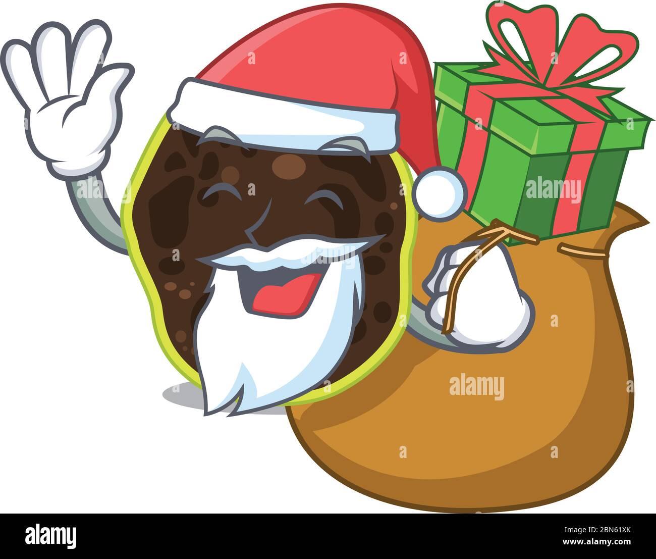 Diseño de dibujos animados de firmicutes Santa con regalo de Navidad Ilustración del Vector