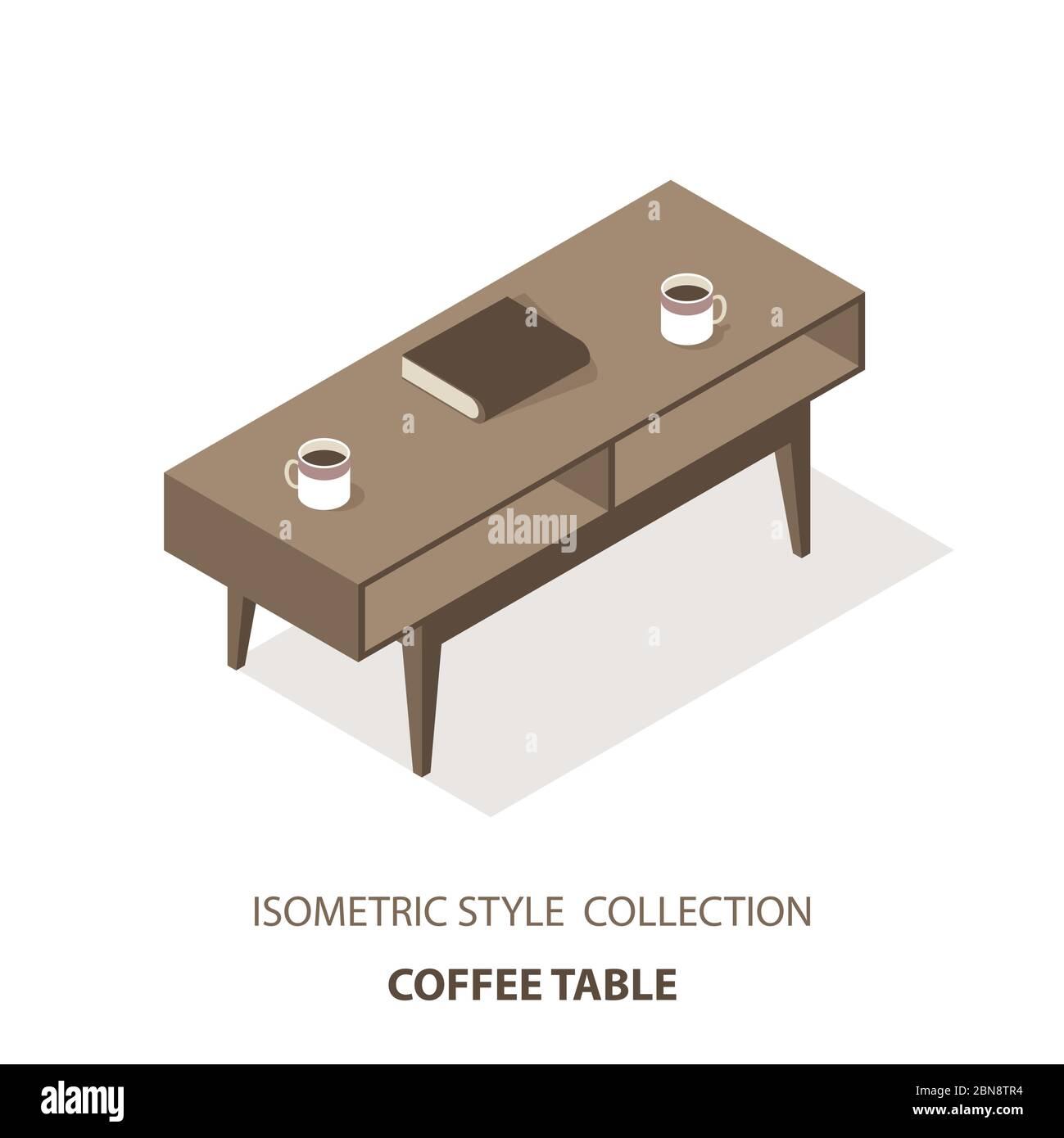 Mesa plana de mesa de café isométrica vectorial aislada sobre fondo blanco Ilustración del Vector
