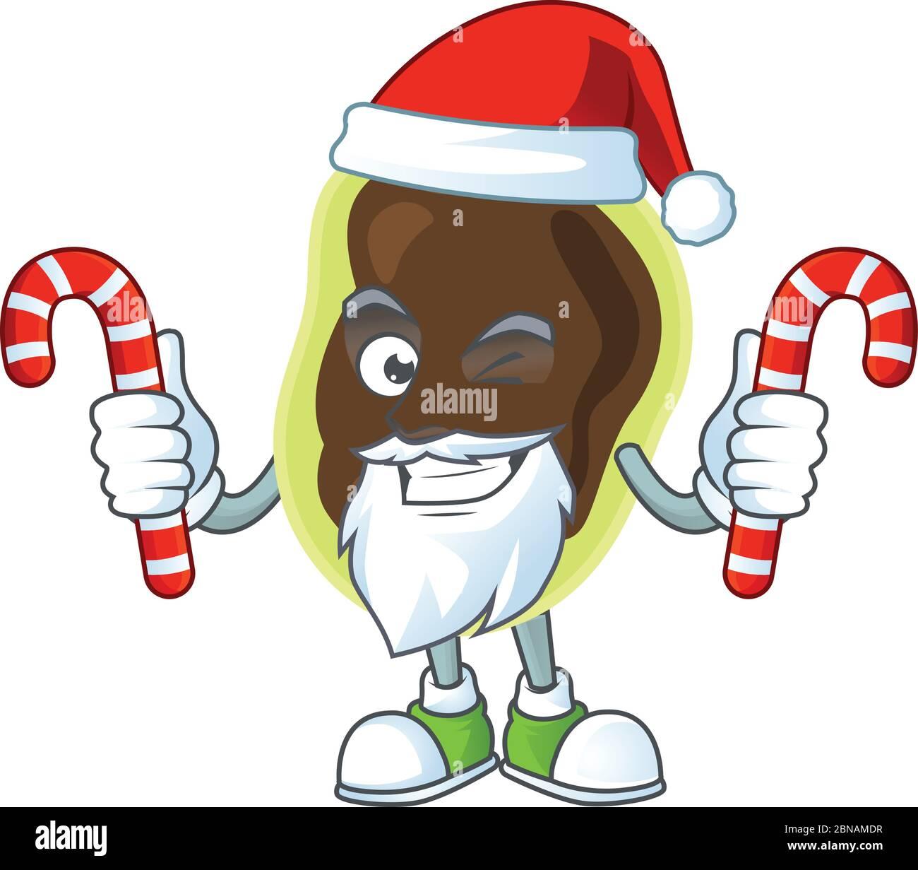 Personaje de dibujos animados de firmicutes como un Santa teniendo dulces Ilustración del Vector