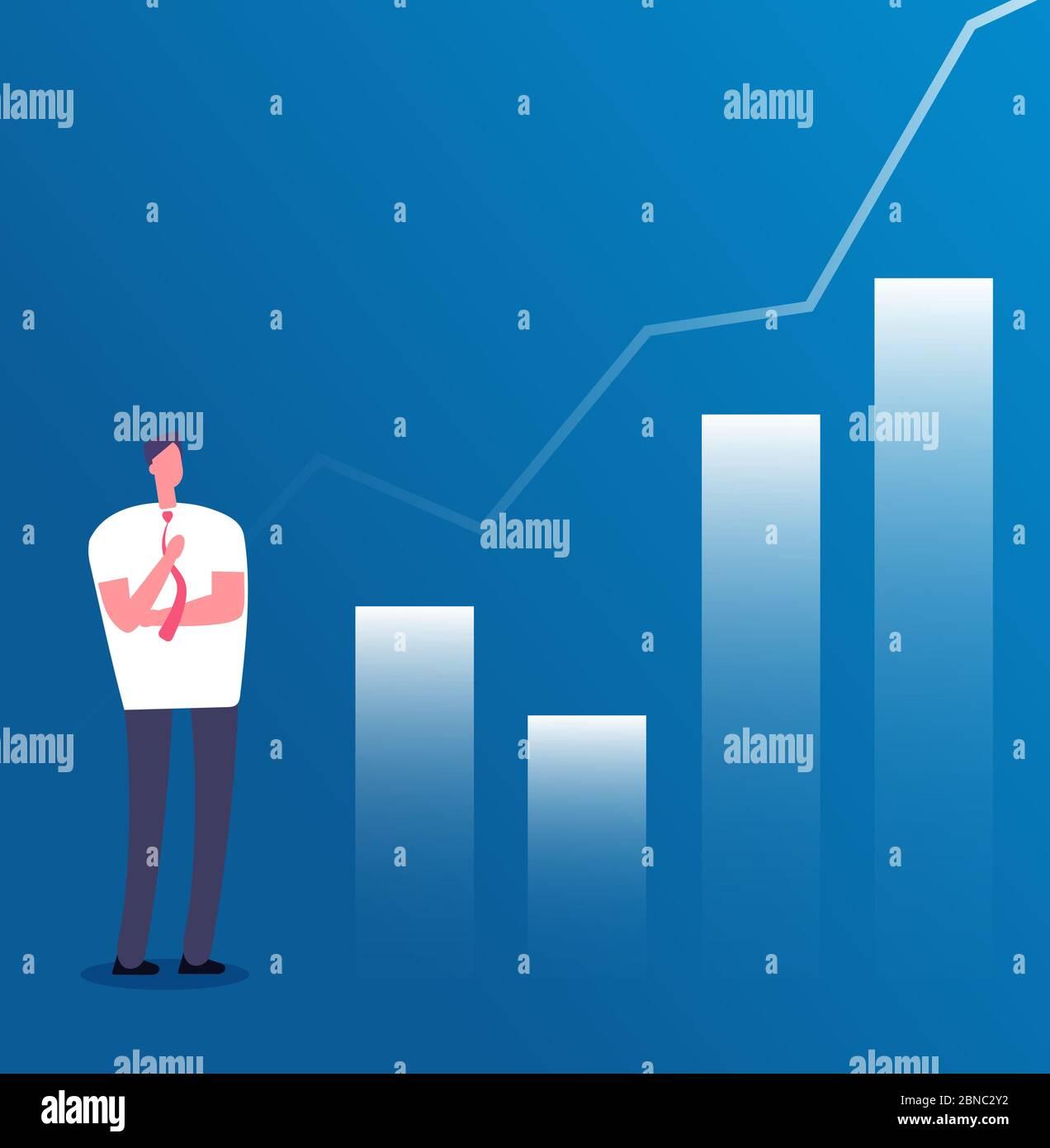 Concepto de crecimiento del mercado. Empresario con gráfico de crecimiento. Éxito de negocios, planificación de ingresos de inversión y el crecimiento de carrera póster vector. Ilustración de la gráfica financiera, de las ganancias y de la inversión financiera Ilustración del Vector