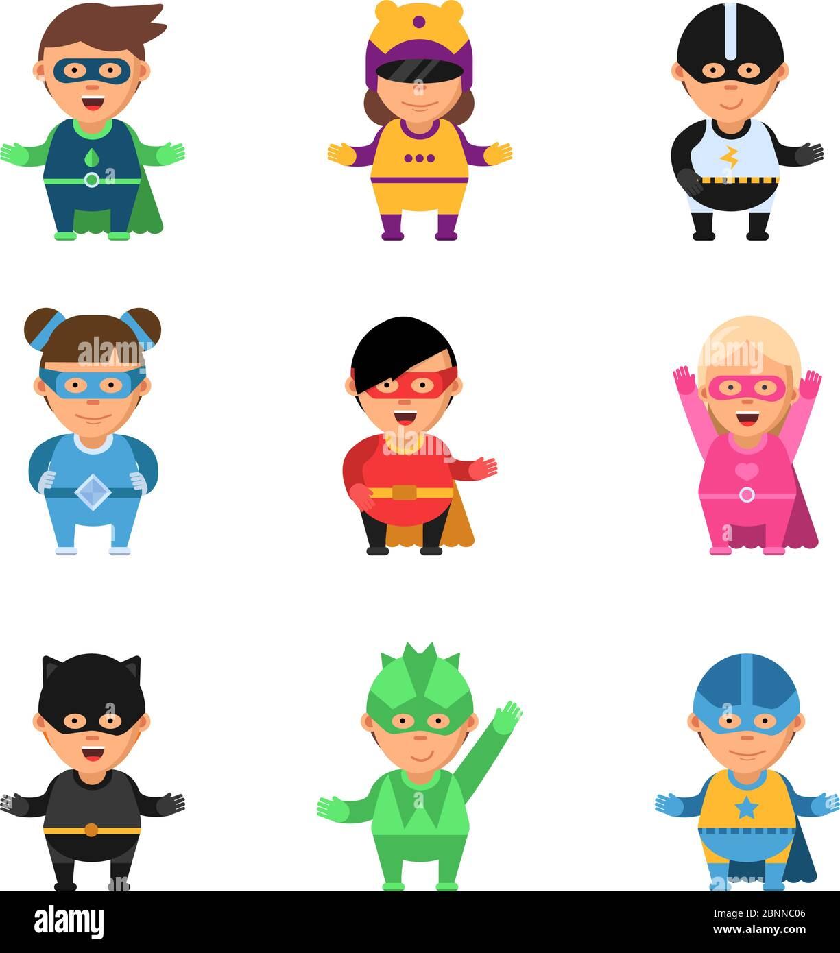 Superhéroes para niños. Dibujos animados 2d juego personajes de héroes en  máscara lindo hombre y mujer sup. valiente vector cómic mascotas Imagen  Vector de stock - Alamy