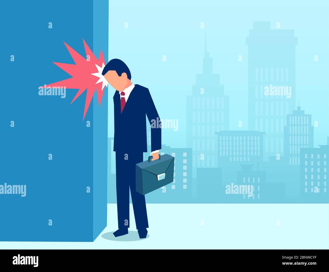 Vector de un hombre de negocios estresado golpeando la cabeza en frustración contra una pared Ilustración del Vector