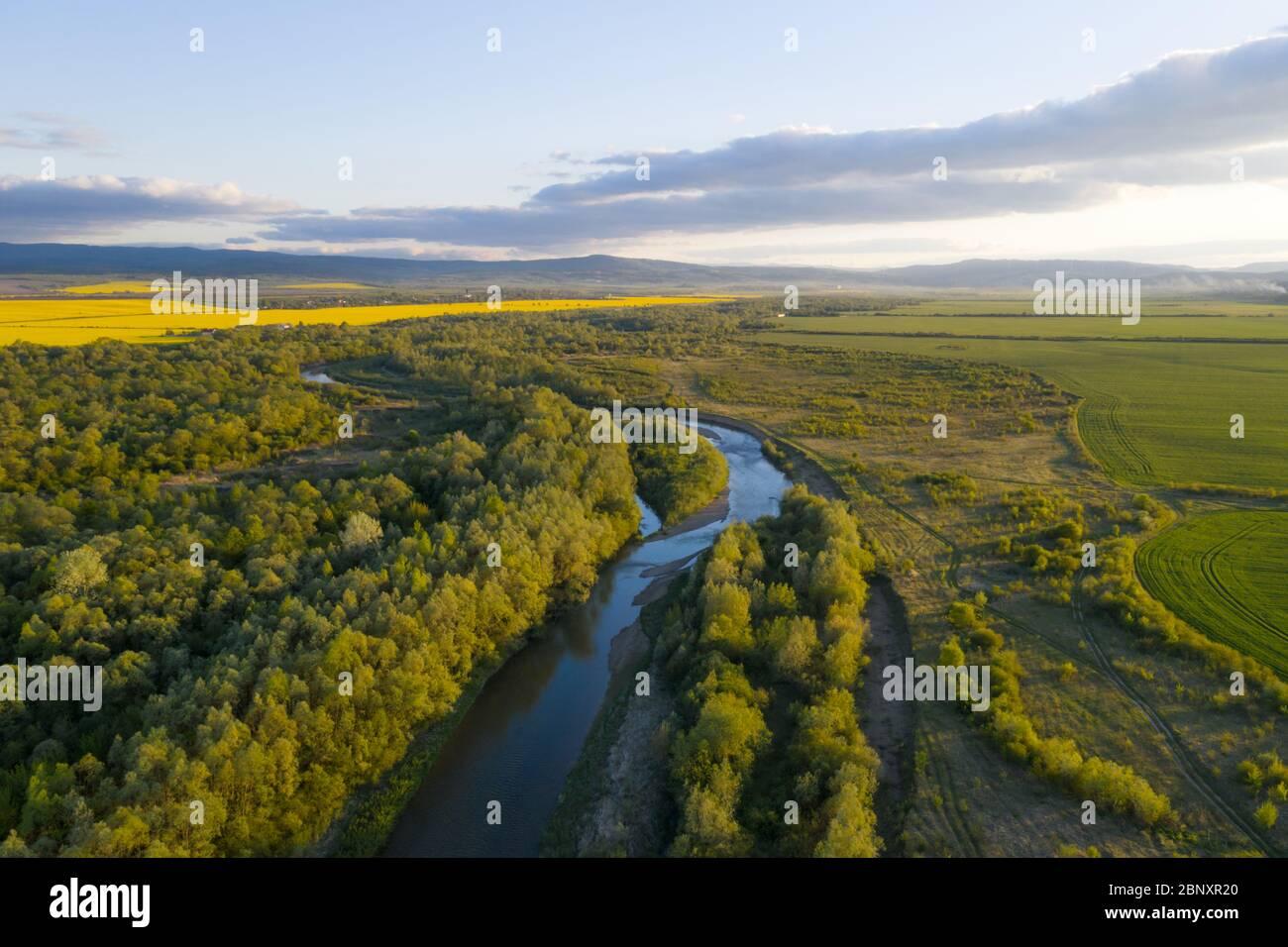 Vuelo a través del majestuoso río Dnister, el exuberante bosque verde y los florecientes campos de colza amarilla al atardecer. Ucrania, Europa. Fotografía de paisajes Foto de stock