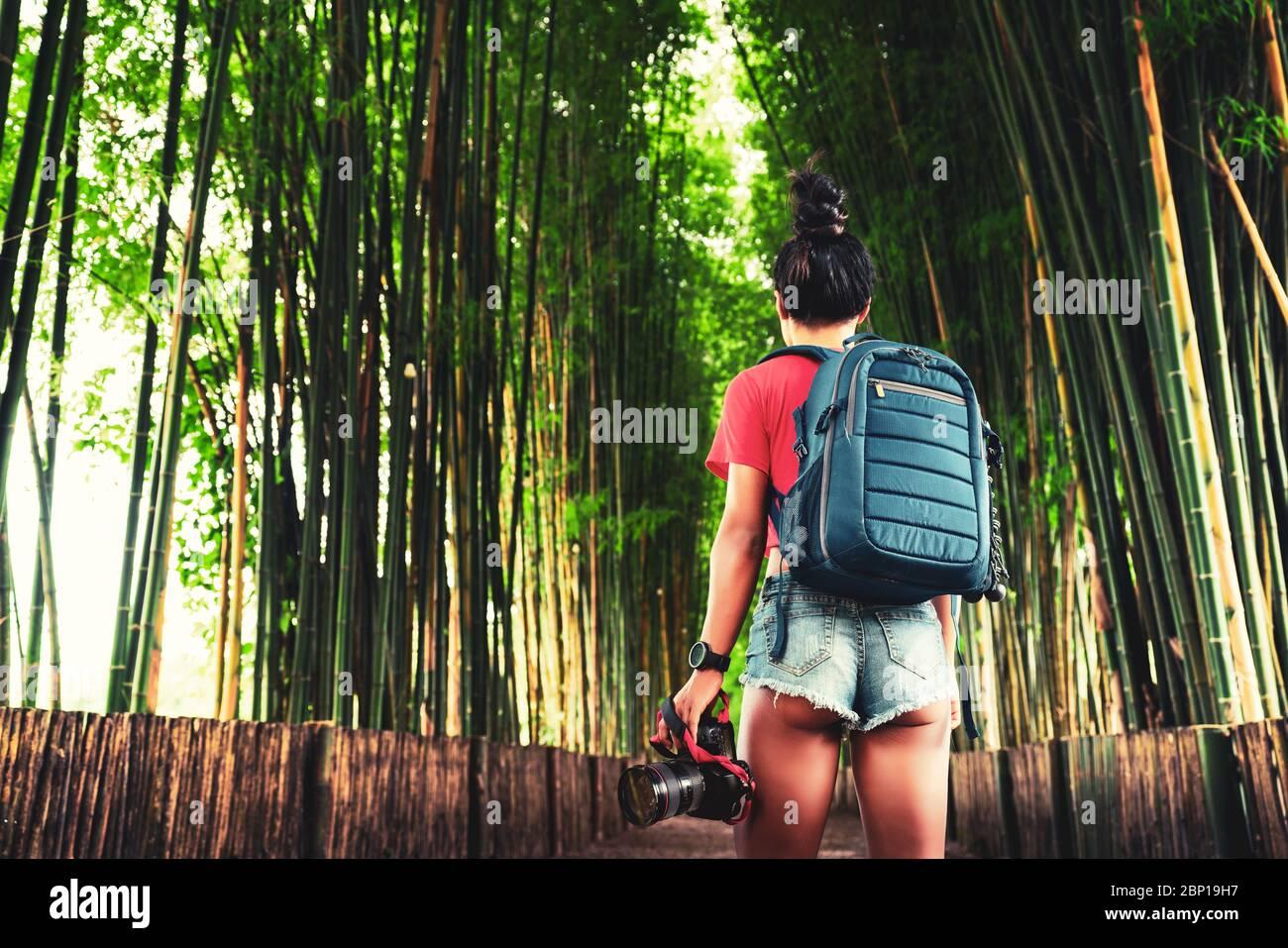 Mujer de viaje con mochila y cámara en la mano explorar el bosque de bambú en Tailandia. Destinos de viaje populares en Asia. Foto de stock