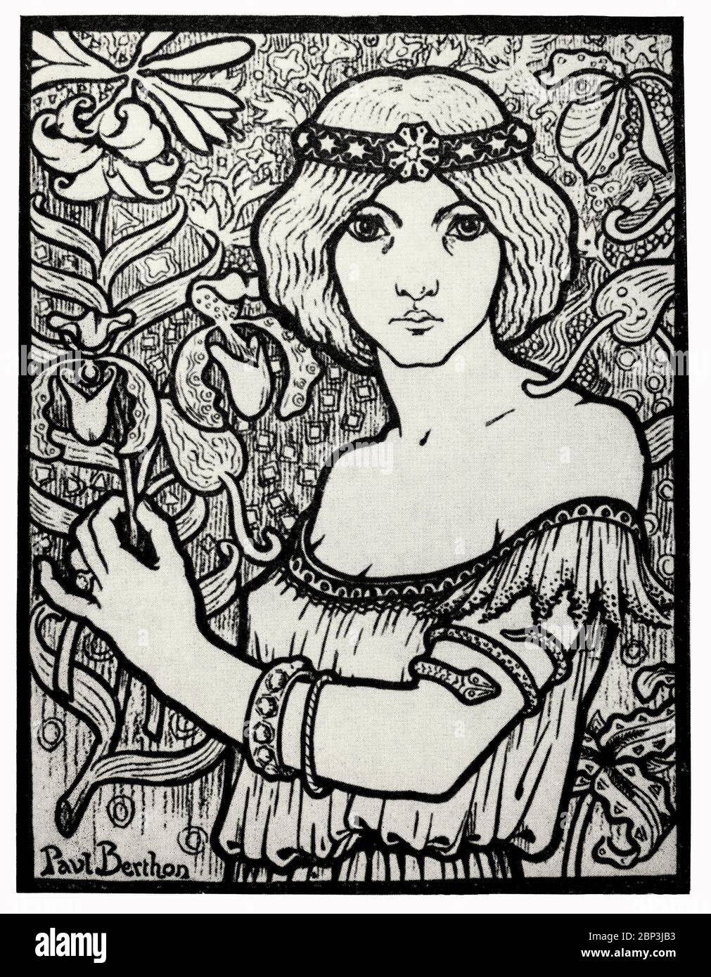 Un cartel para el 'Salon des Cent' de Paul Berthon (1872-1934), un artista francés que produjo principalmente carteles y litografías. Su obra es de estilo Art Nouveau, muy similar a su contemporáneo Alphonse Mucha. El estudio de Berthon sobre las artes decorativas influyó en su impresión, influyendo en las líneas fuertes y los detalles naturales que guiaron su arte. La gran mayoría de los carteles litografiados de Berthon no incluían anuncios y estaban destinados a ponerse de pie por sí mismos. Foto de stock