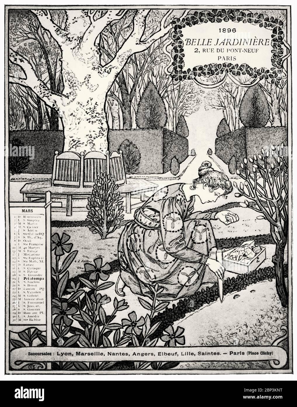 'Arco del Calendario Bella Jardiniere' de Eugène Grasset (1845-1917), una artista Suiza decorativa que trabajó en París, Francia en una variedad de campos de diseño creativo durante la Belle Époque. Es considerado un pionero en el diseño Art Nouveau. Foto de stock