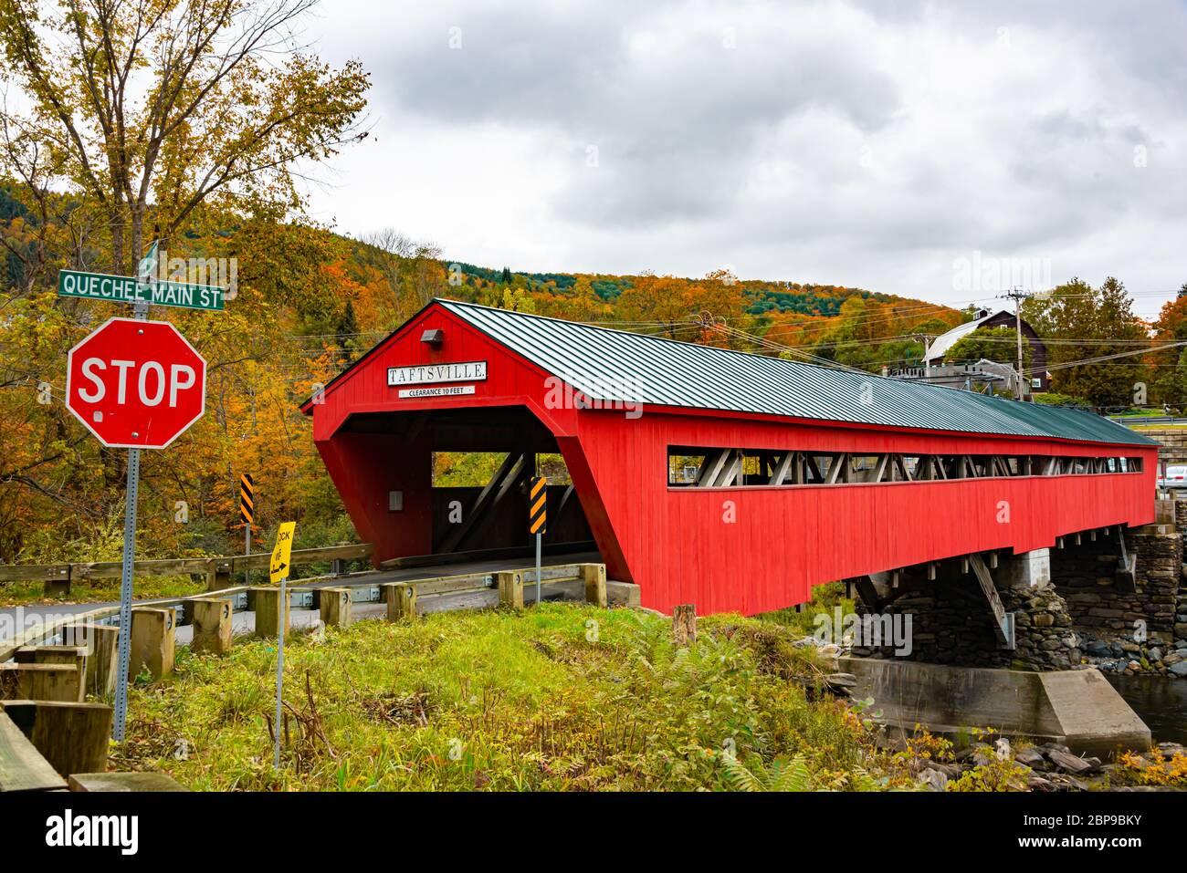 Taftsville Covered Bridge, Woodstock, Vermont Foto de stock