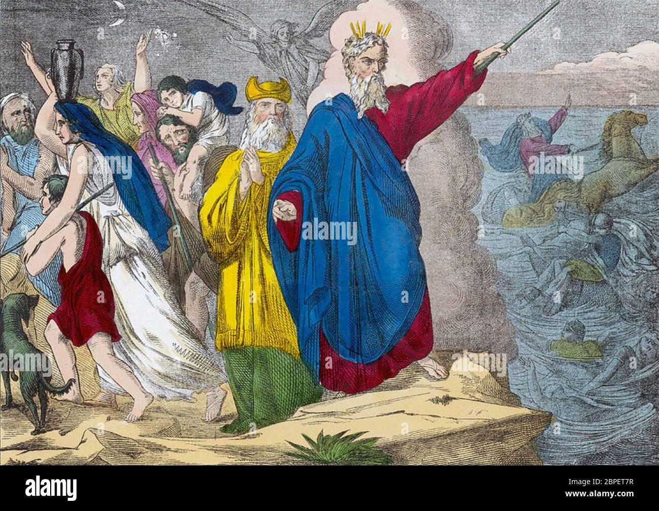 LA SEPARACIÓN DEL MAR ROJO en un grabado del siglo XVIII Foto de stock