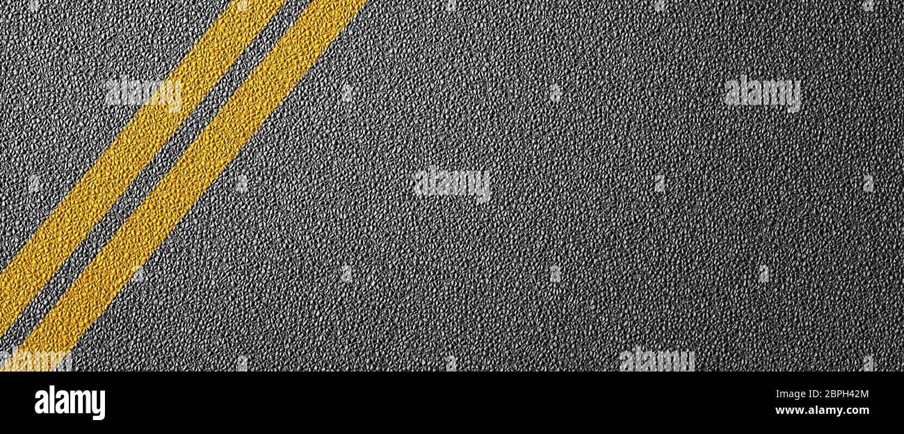 3D Ilustración de una división de carreteras con líneas amarillas patrón y fondo, texturizada reglas de tráfico concepto Foto de stock