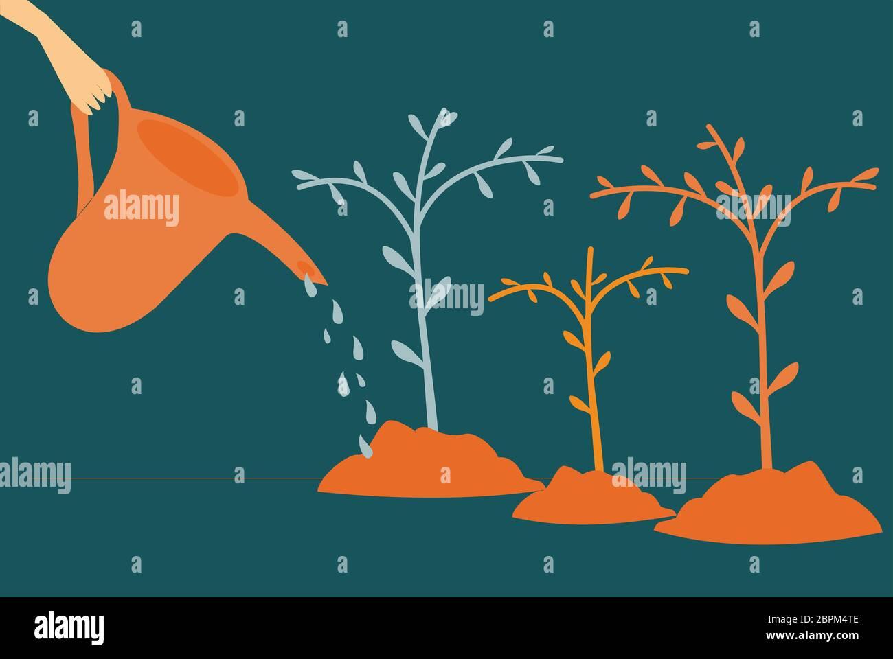 Plantar a mano y regar árboles en el suelo - Ecología y Sostenibilidad Foto de stock