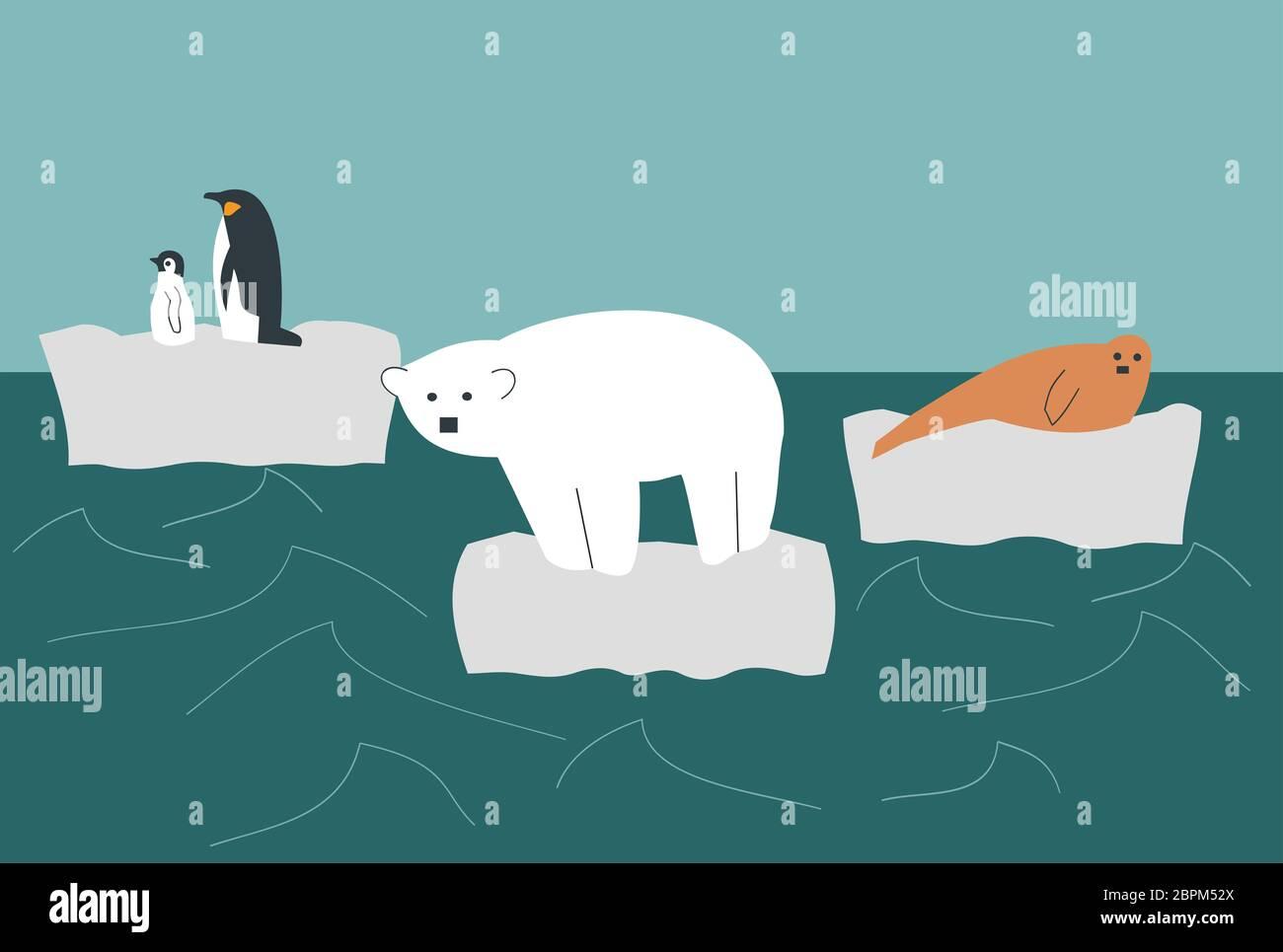 Ilustración de animales salvajes, oso polar, pingüino y foca en un glaciar de fusión en medio del océano - calentamiento global Foto de stock