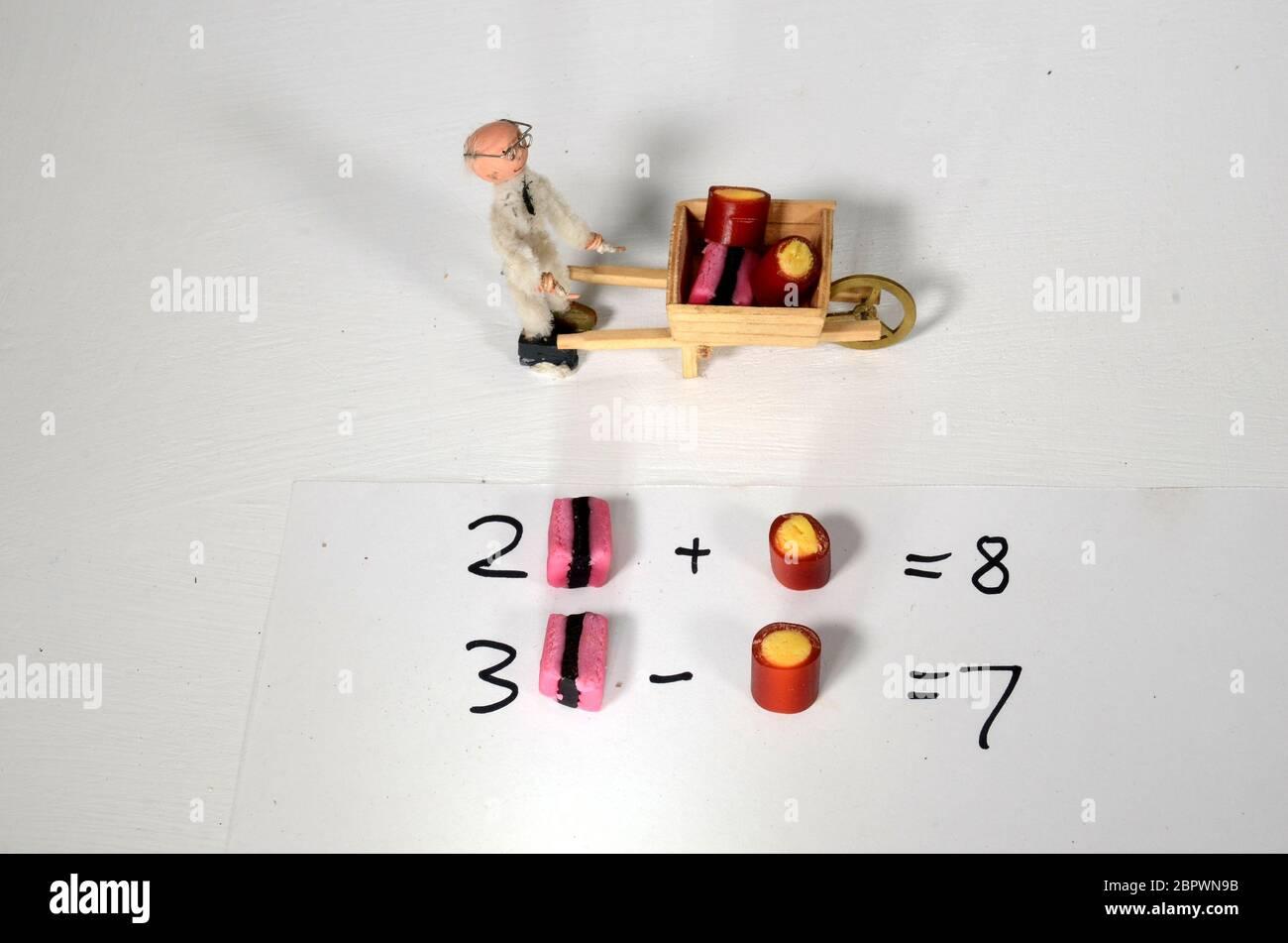 Configuración con presentación gráfica de dos ecuaciones con dos desconocidas, utilizando objetos como valor desconocido Foto de stock