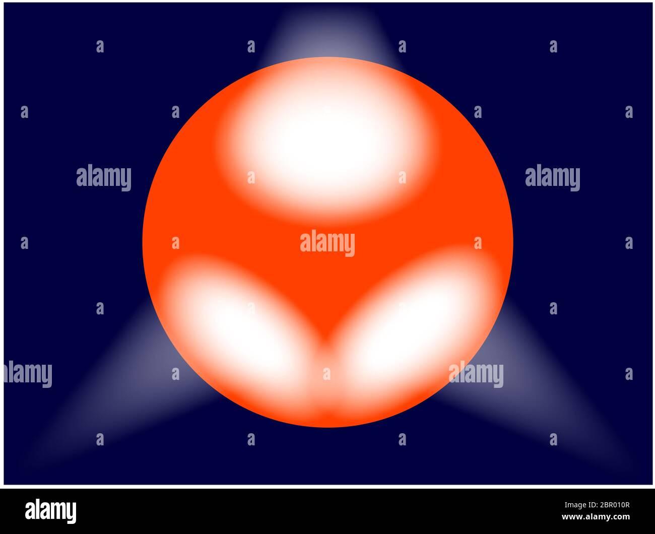Un globo iluminado con un globo rojo con 3 focos. Foto de stock