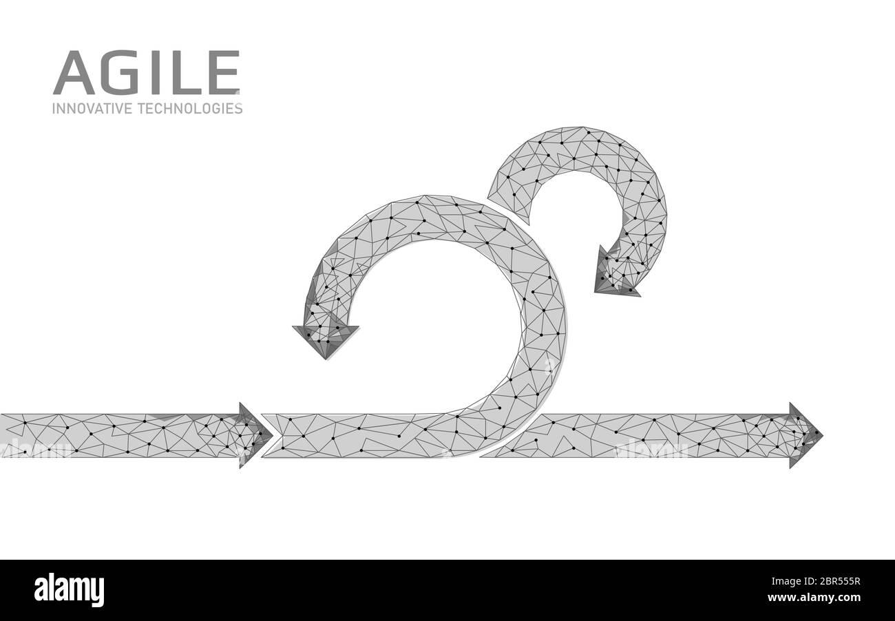 Ciclo de vida de un proyecto de desarrollo ágil. Probar el concepto de estrategia del sistema. Círculo símbolo de flecha de aplanamiento bajo flexible de poli. Ilustración vectorial Ilustración del Vector
