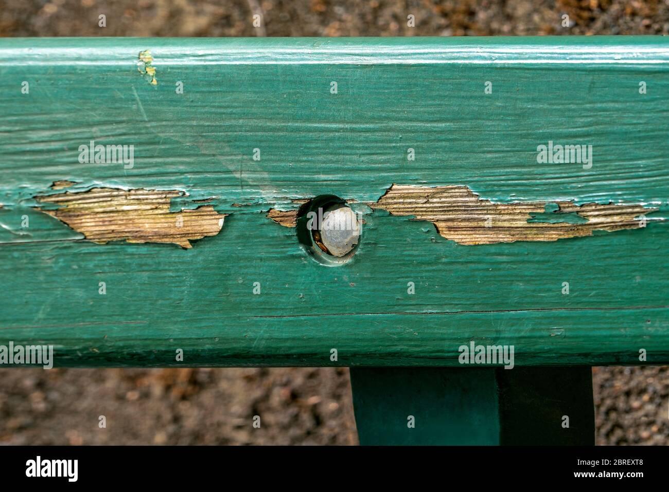 Una tabla de madera desgastada de un banco de parque pintado con barniz verde que muestra abrasión Foto de stock