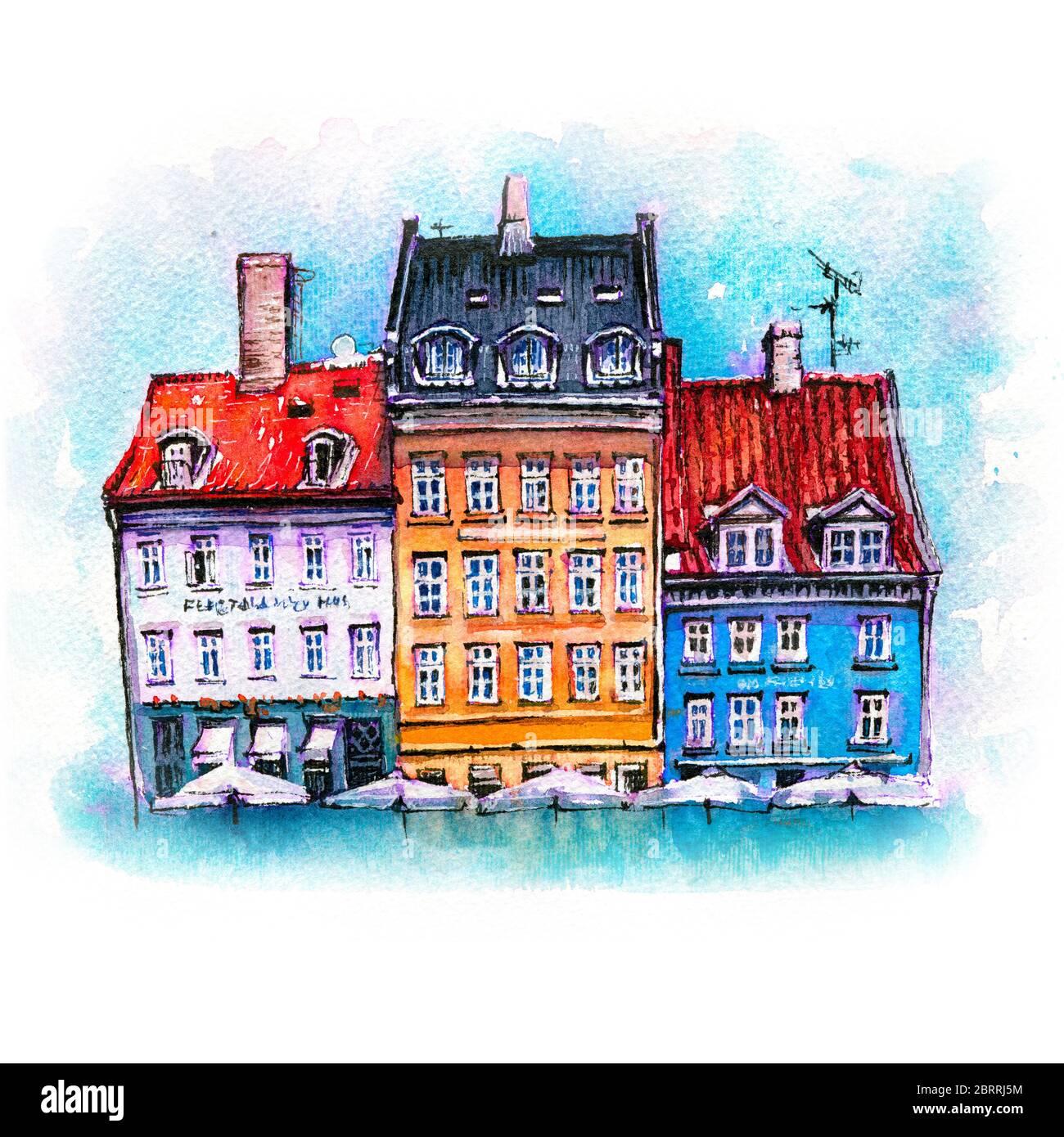 Dibujo de acuarela de coloridas fachadas de casas antiguas en Nyhavn puerto en el casco antiguo de la ciudad de Copenhague, capital de Dinamarca. Foto de stock
