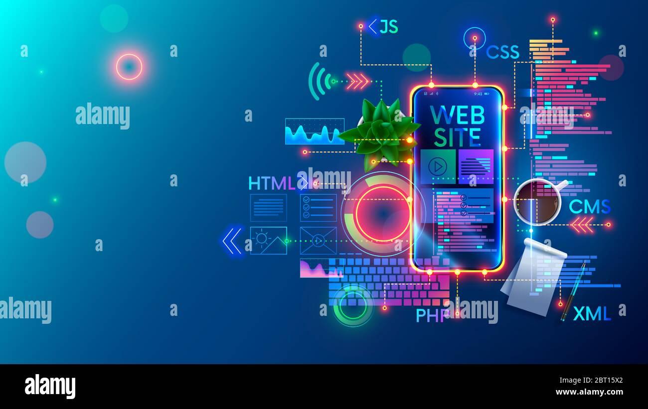 Ilustración conceptual de la tecnología de desarrollo de sitios web móviles. Diseño de páginas de internet de sitio de diseño en pantalla teléfono. Software de programación de Ilustración del Vector