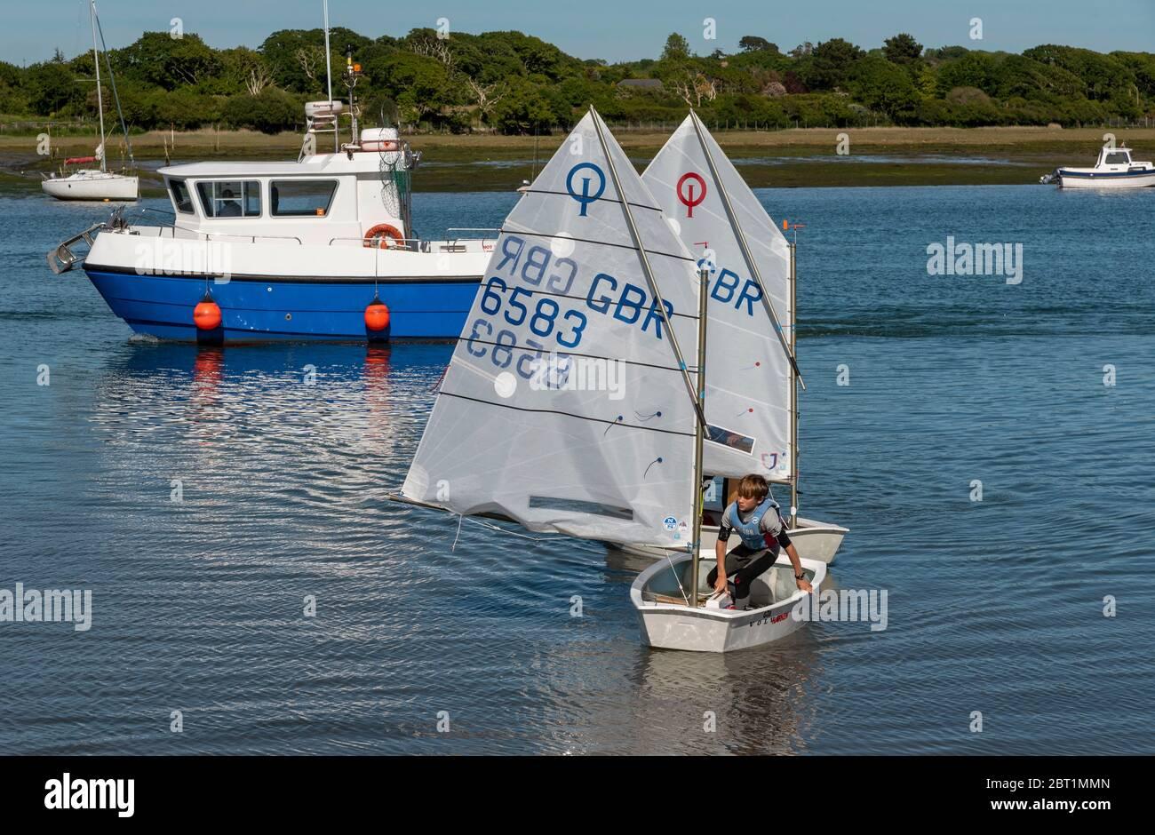 Lymington, Hampshire, Inglaterra, Reino Unido. Mayo de 2020. Niño y niña aprendiendo a manejar sus veleros Optomistas en el río Lymington en el New Forest, Kamp Foto de stock