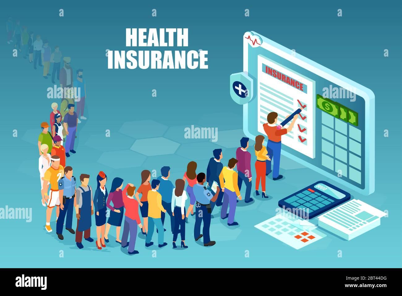Vector de personas diversas esperando en línea para llenar el formulario de contrato de seguro de salud en línea Ilustración del Vector