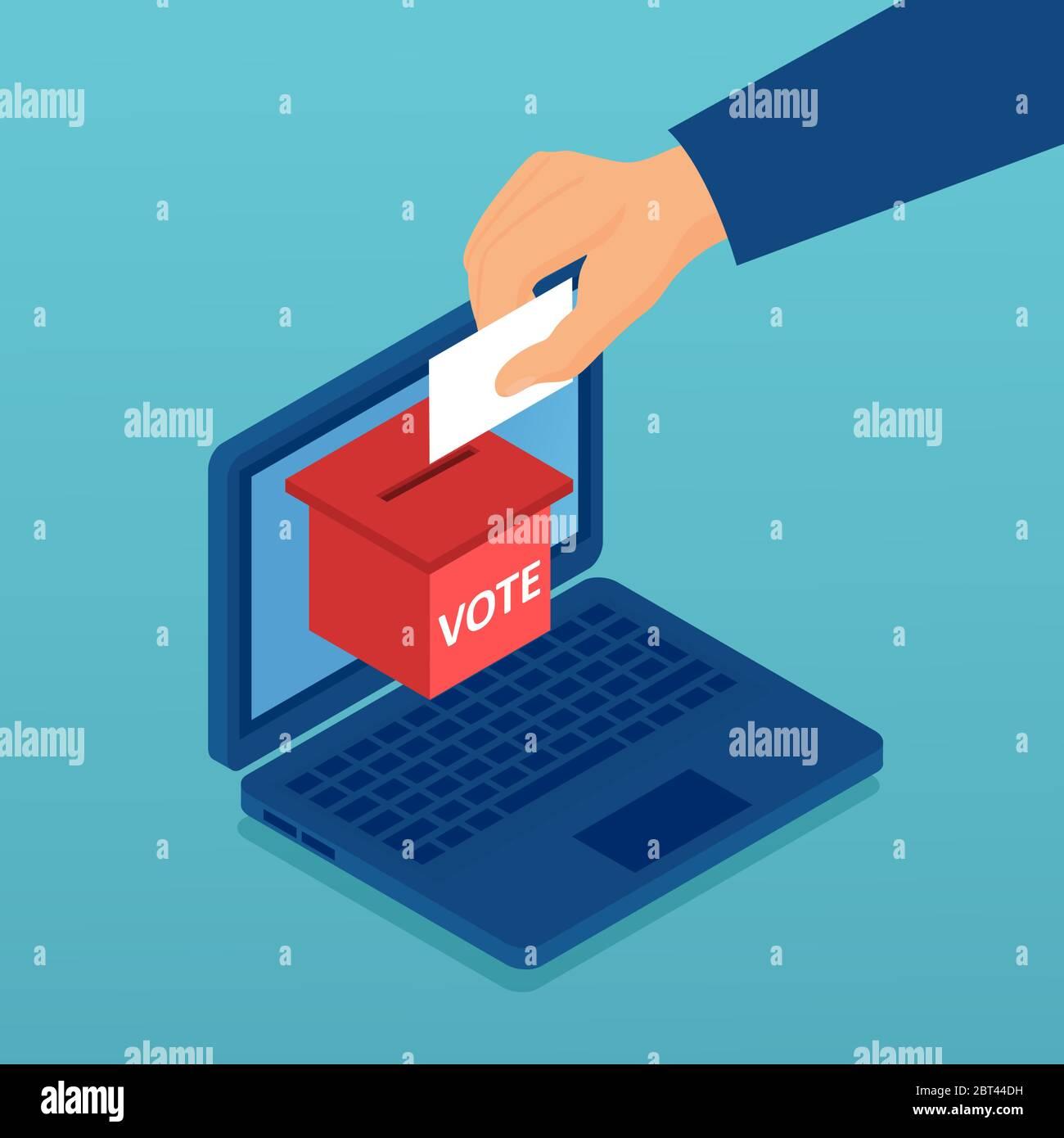 Vector de una mano poniendo papel con voto en la urna en una computadora portátil Ilustración del Vector
