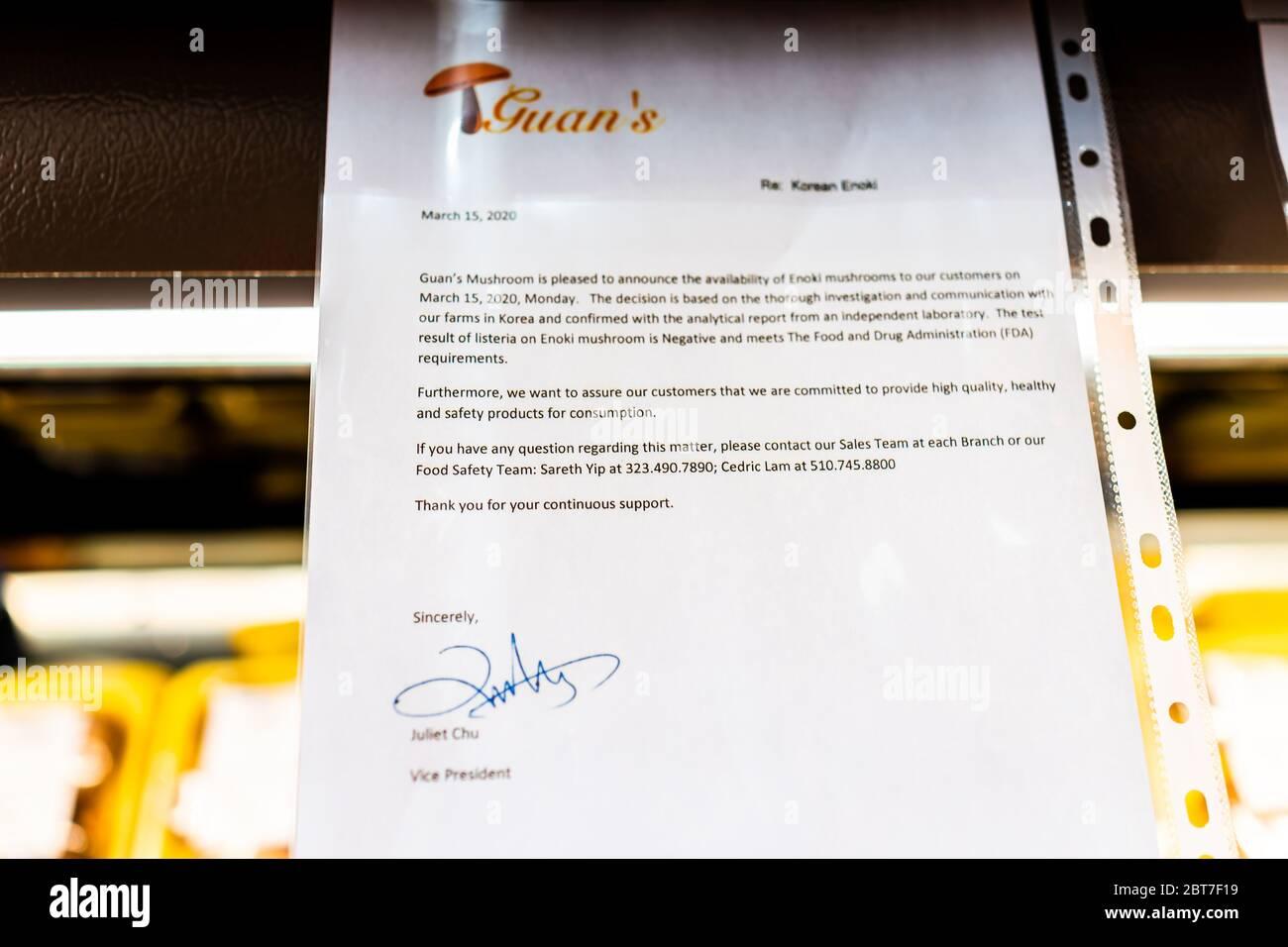 Herndon, EE.UU. - 17 de abril de 2020: Guan firma de champiñones aviso con respecto a la listeria detectada en hongos Enoki con laboratorio independiente prueba negativa res Foto de stock