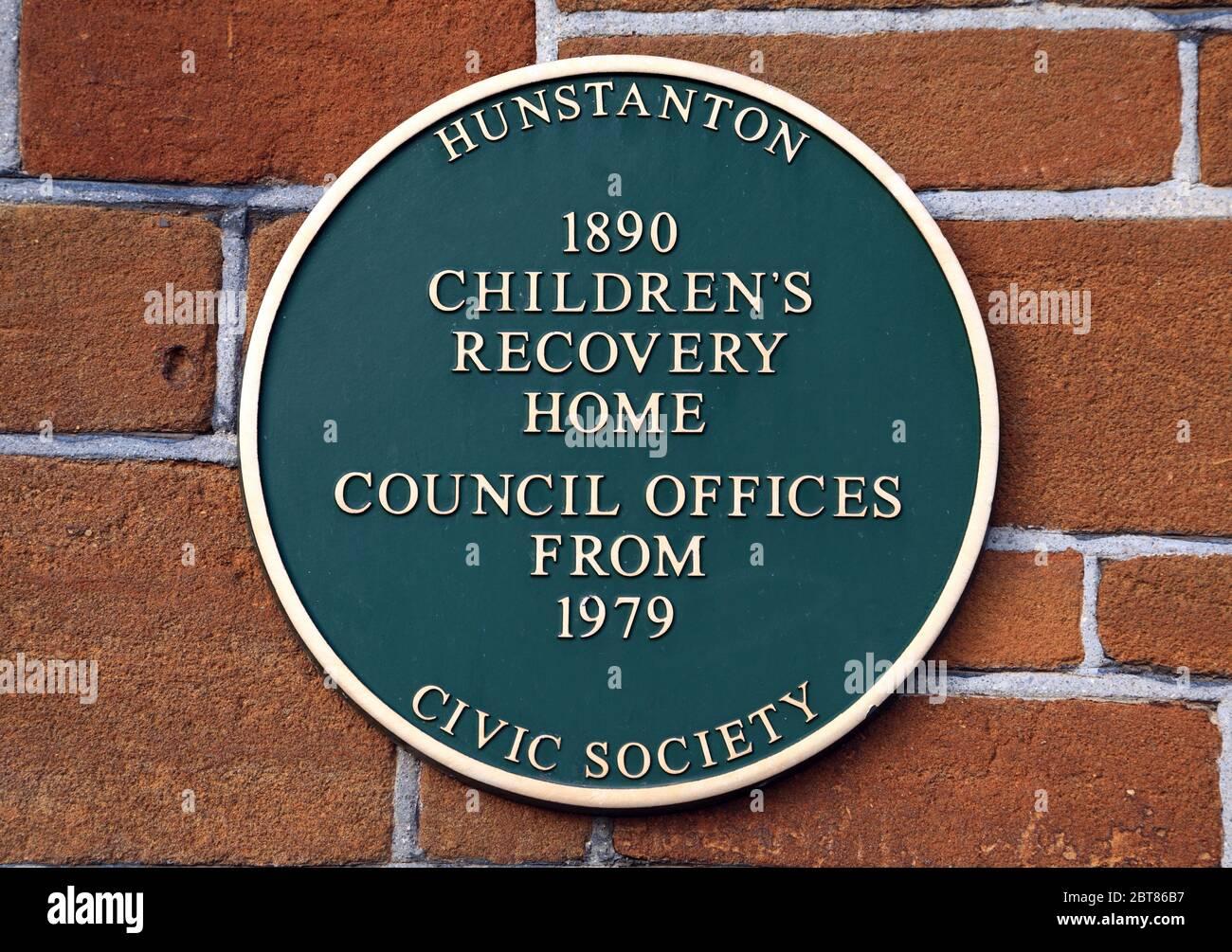 Hunstanton Civic Society, placa de pared, Hogar de niños de Victoria, Norfolk, Inglaterra Foto de stock