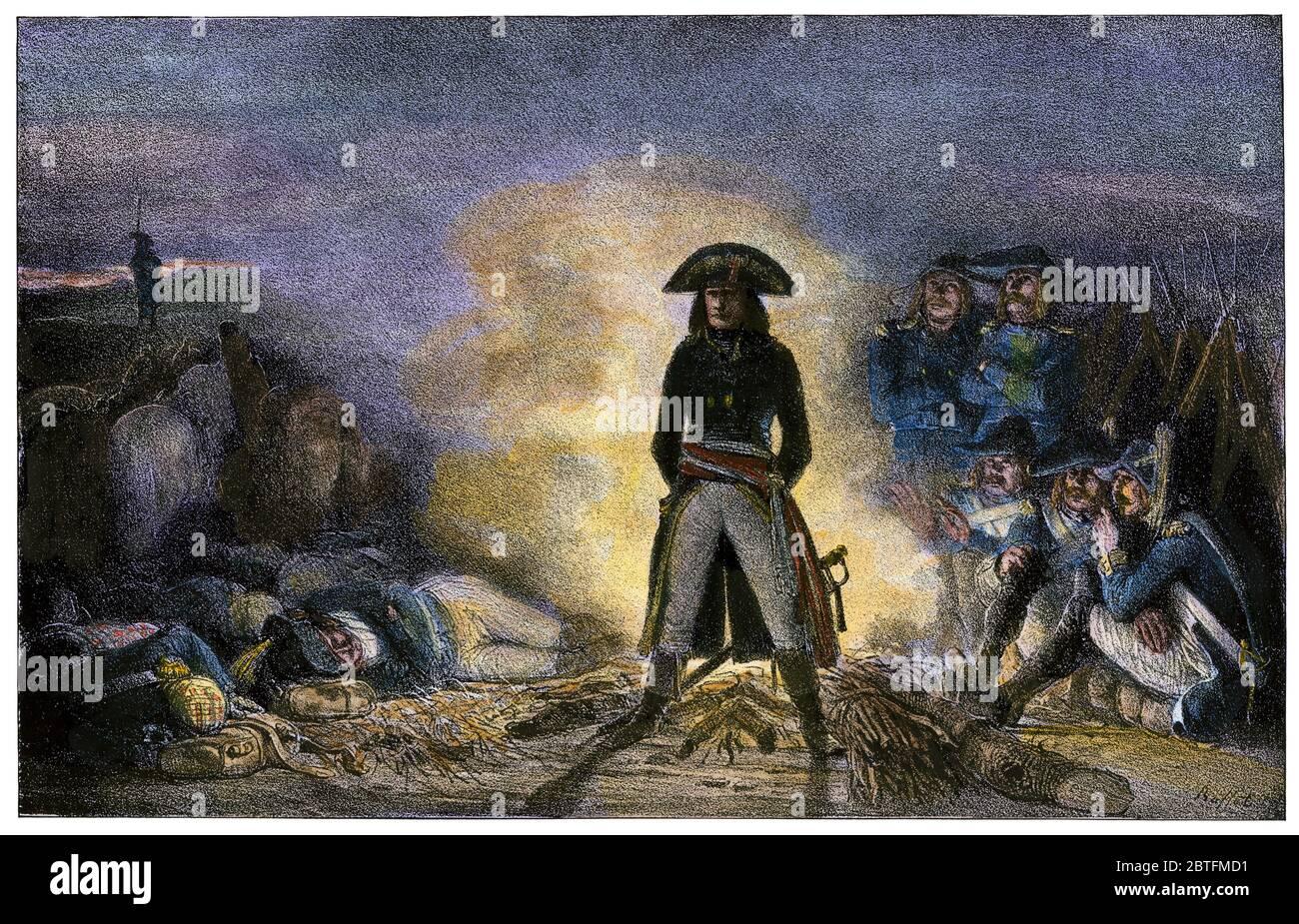 Napoleón en el campamento durante la campaña italiana en 1796. Madera talada a mano Foto de stock
