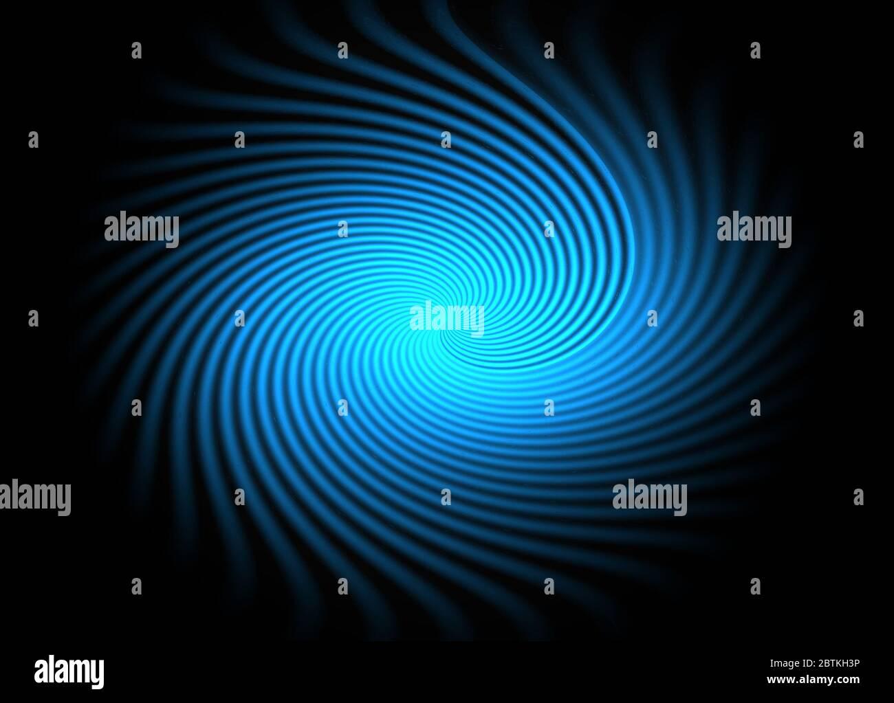 Resumen efecto remolino azul eléctrico brillante sobre fondo negro, concepto de espacio, mar, criaturas, luz, energía, electricidad Foto de stock