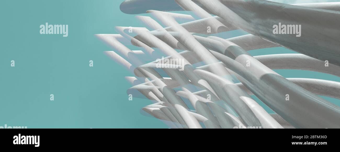 blanco línea gris curva estructura abstracta sobre azul claro cielo banner creativo arquitectura moderna fondo Foto de stock