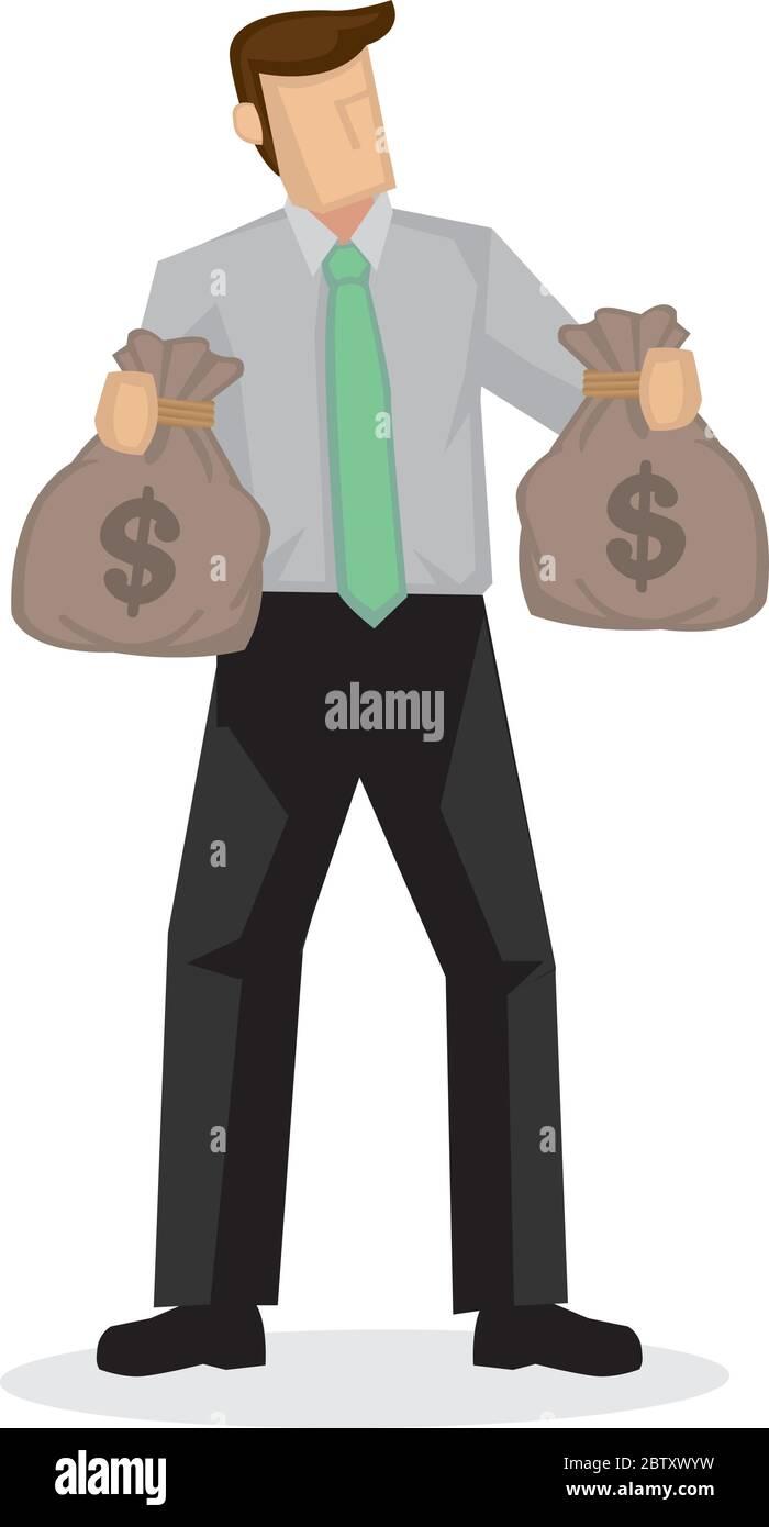 El hombre de negocios tiene dos bolsas de dinero con signo