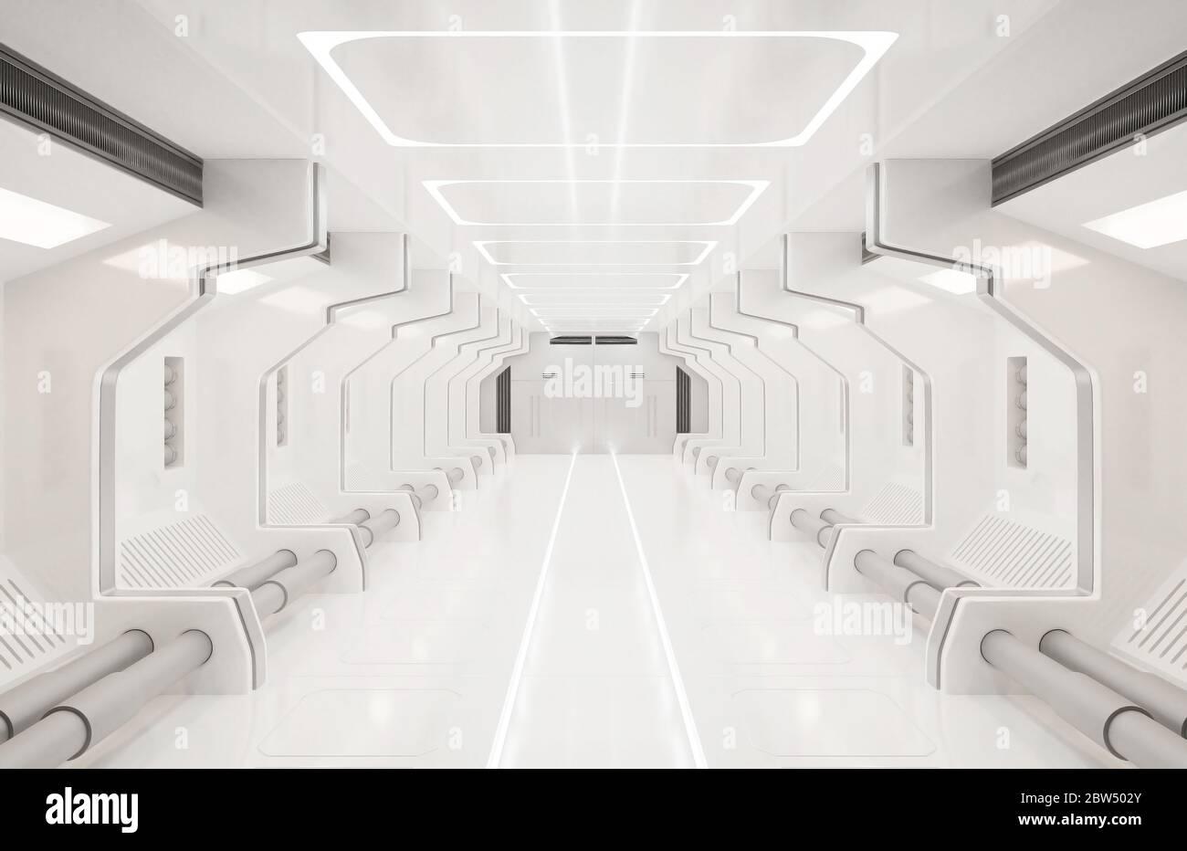 Elementos de representación 3D de esta imagen amueblado, espacio interior blanco, túnel, pasillo, pasillo Foto de stock