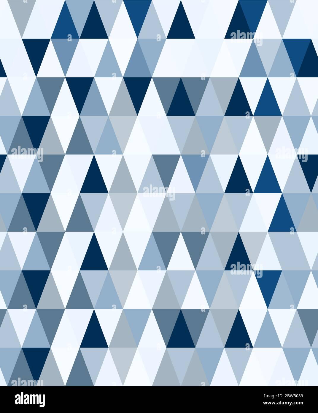 Moderno diseño geométrico minimalista sin costuras con triángulos de colores en tonos de azul clásico. Patrón vectorial geométrico contemporáneo abstracto. Ilustración del Vector