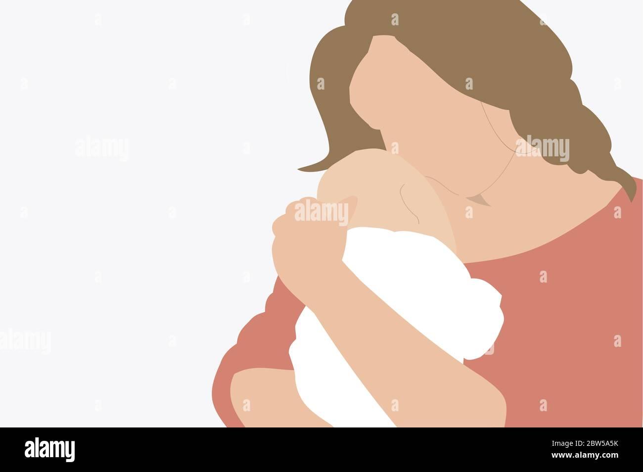 Ilustración de una madre que sostiene a su bebé recién nacido en brazos - moderno y retrato mínimo Foto de stock