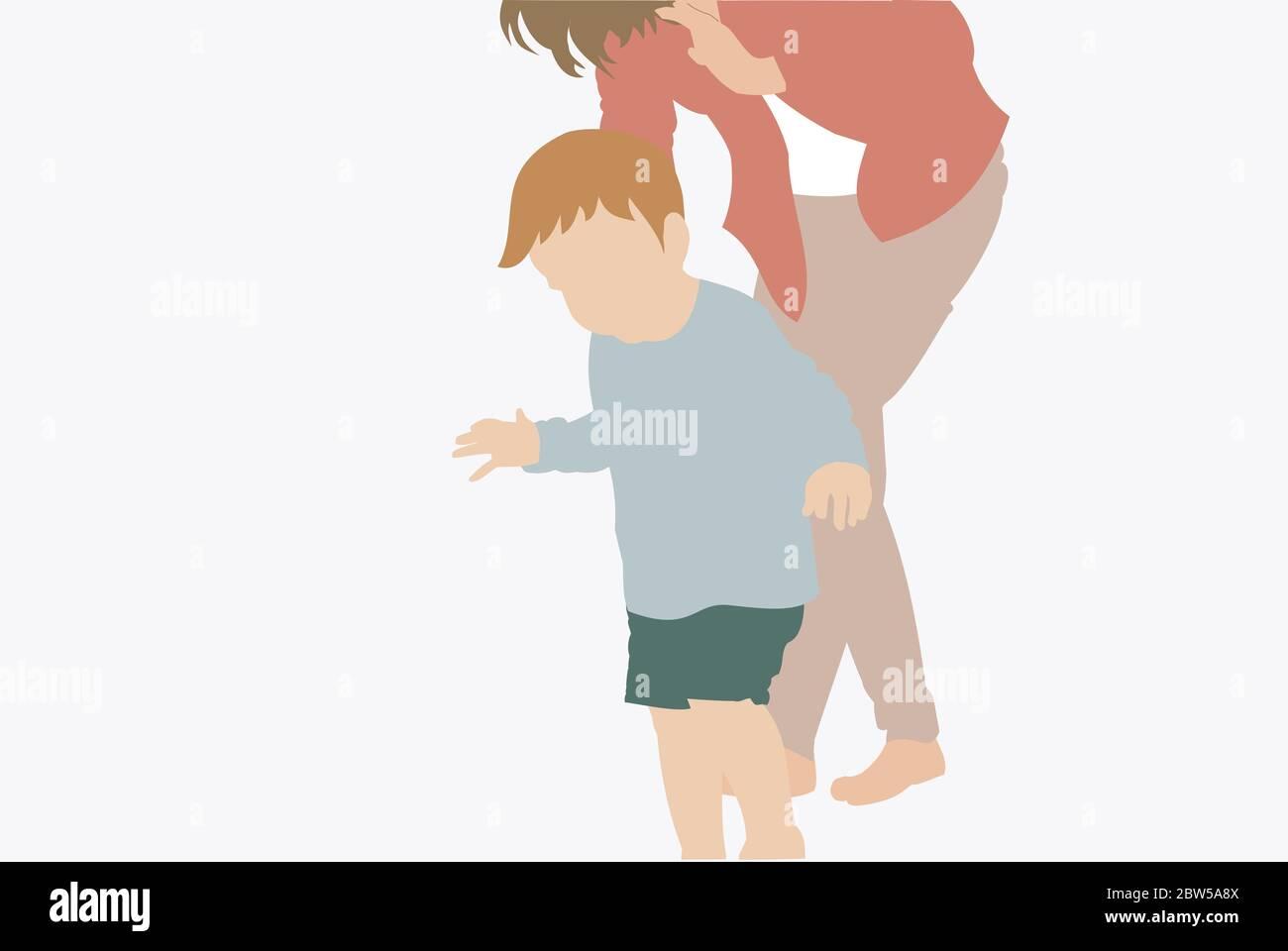 Ilustración de una madre sosteniendo a su bebé caminando - moderno y retrato mínimo Foto de stock