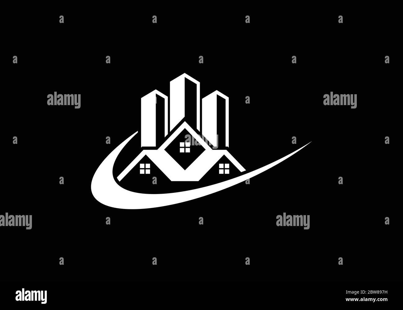 Diseño de logotipo de vector inmobiliario, Diseño de logotipo de edificio, plantilla de logotipo de vector inmobiliario, logotipo de una propiedad, logotipo de casa abstracto Ilustración del Vector