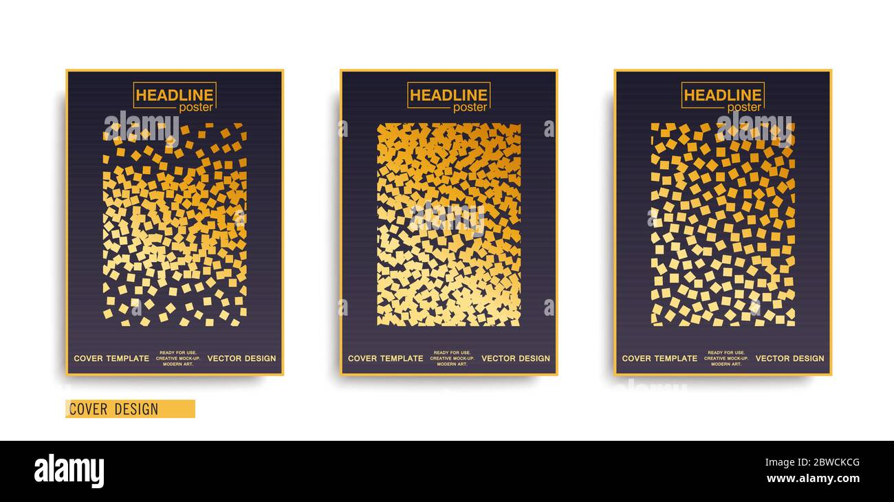 Composición geométrica minimalista de objetos caóticos cuadrados. Plantillas de portadas A4 modernas. Diseño de póster vectorial Ilustración del Vector