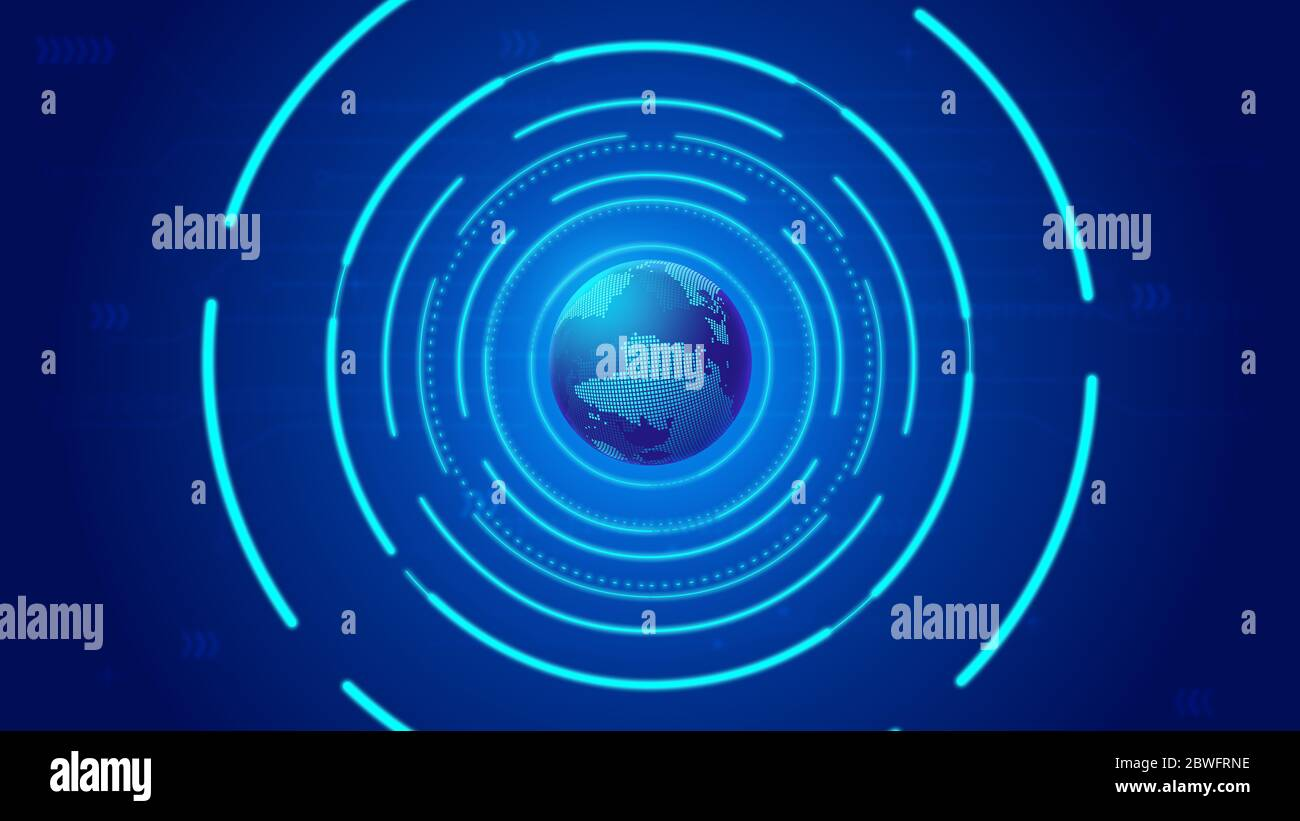 Bobina brillante y tierra digital, ciencia de Internet y tecnología de fondo. Foto de stock