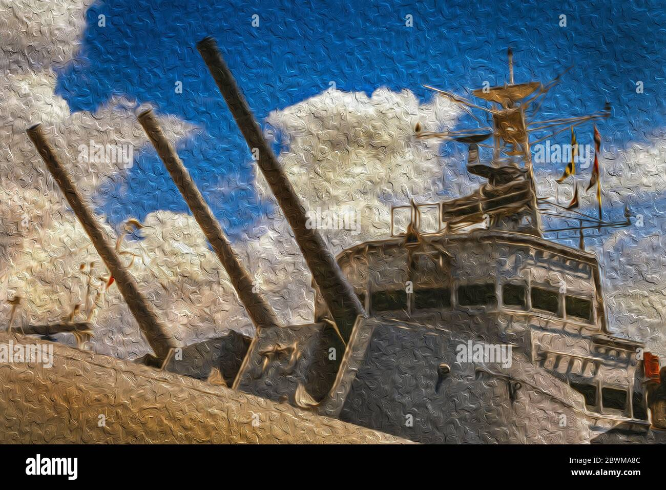 Cañones pesados y puente de barcos en el buque de guerra HMS Belfast en Londres. Capital de Inglaterra y el Reino Unido. Foto de stock