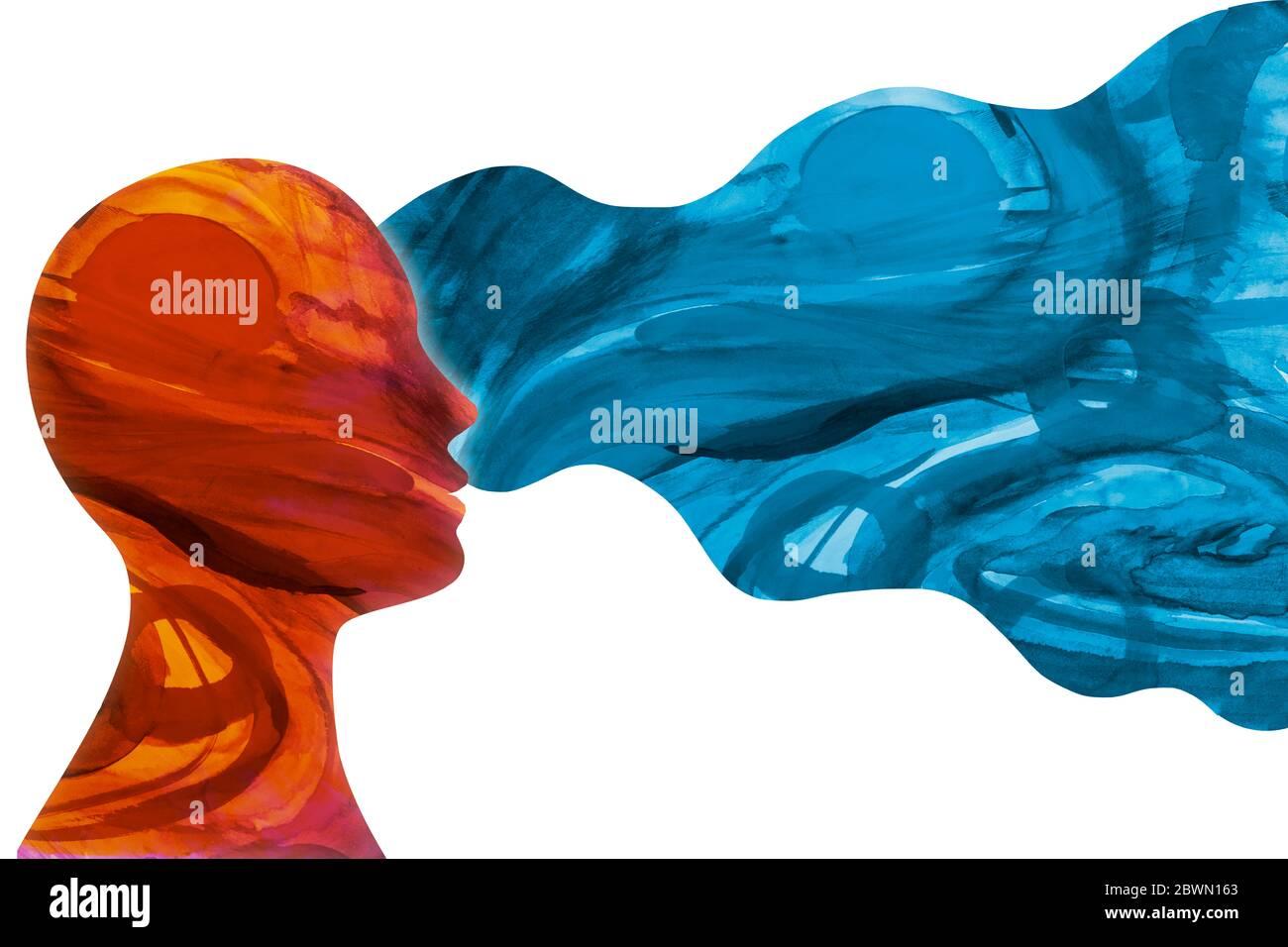 Concepto de salud mental. Metáfora del comportamiento y humor. Cara aislada de la cabeza persona humana en el pensamiento de perfil. Psicología y mente. Patología. Psiquiatría. Foto de stock