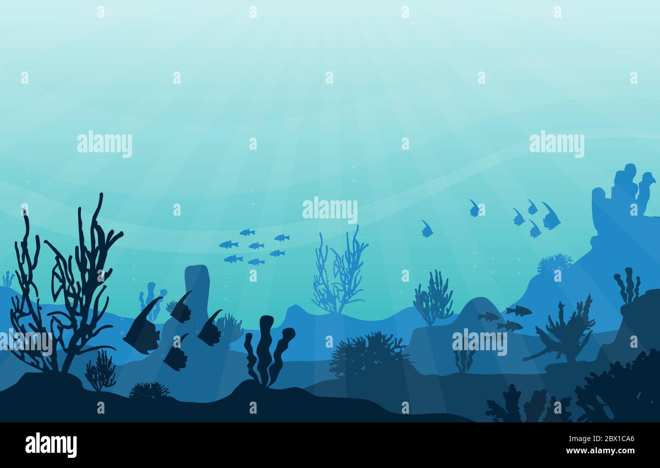 Peces animales marinos Coral Reef Mar Submarino Ilustración Ilustración del Vector
