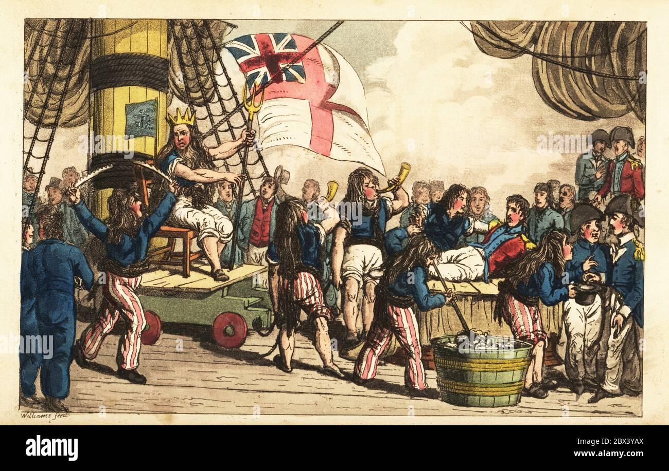 El capitán Newcome es afeitado aproximadamente antes de ser dunked en una tina de agua de sentina en el Ecuador. Un marinero vestido como Neptuno tiene un tridente y se sienta en un trono en un carruaje de armas. Otros hombres intermedios en pelucas como Naiads soplan cuernos. Otro sostiene un aro de hierro áspero usado como una navaja de afeitar. Grabado de copperplate a mano tras una ilustración de Charles Williams de Adventures of Johnny Newcome in the Navy, Londres, 1819. Foto de stock