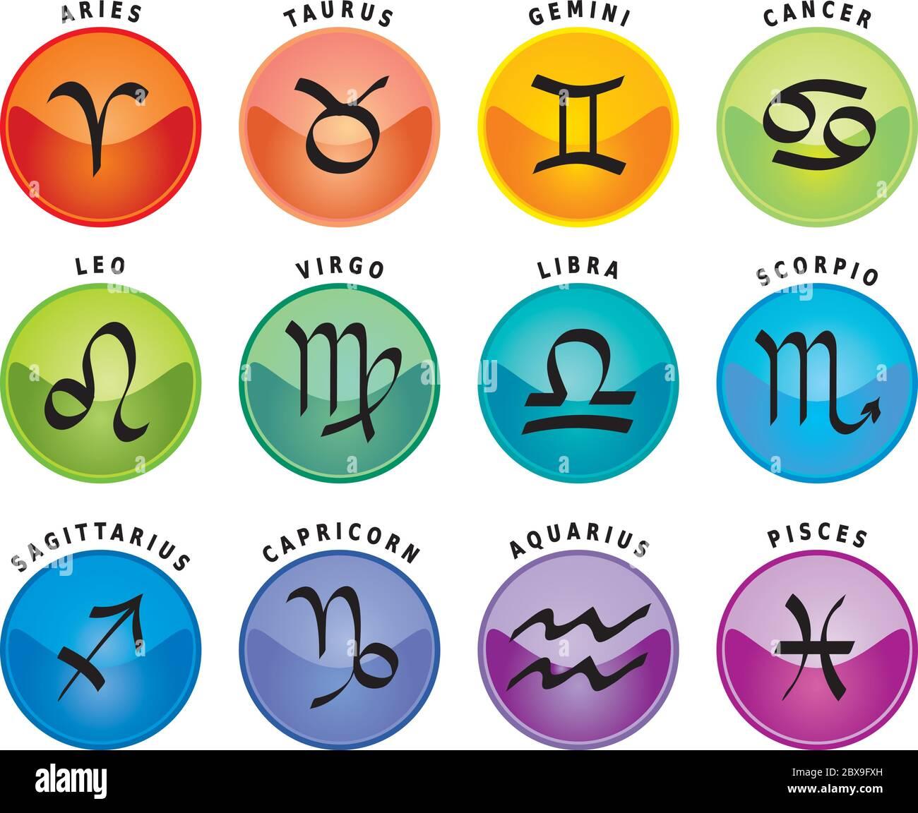 Signos Del Zodiaco Doce Iconos De Astrología Con Nombres En Inglés Imagen Vector De Stock Alamy