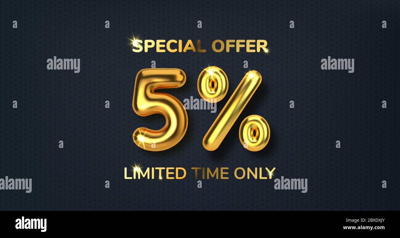5 descuento promoción de venta hecha de globos de oro 3d realista. Número en forma de globos de oro. Plantilla para productos, publicidad, web Ilustración del Vector