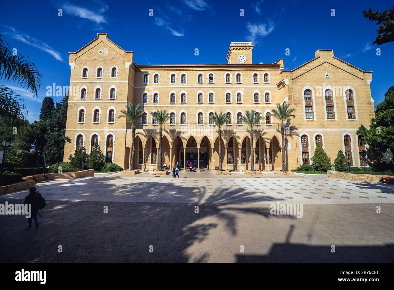 Edificio del College Hall en la Universidad Americana de Beirut en Beirut, Líbano Foto de stock