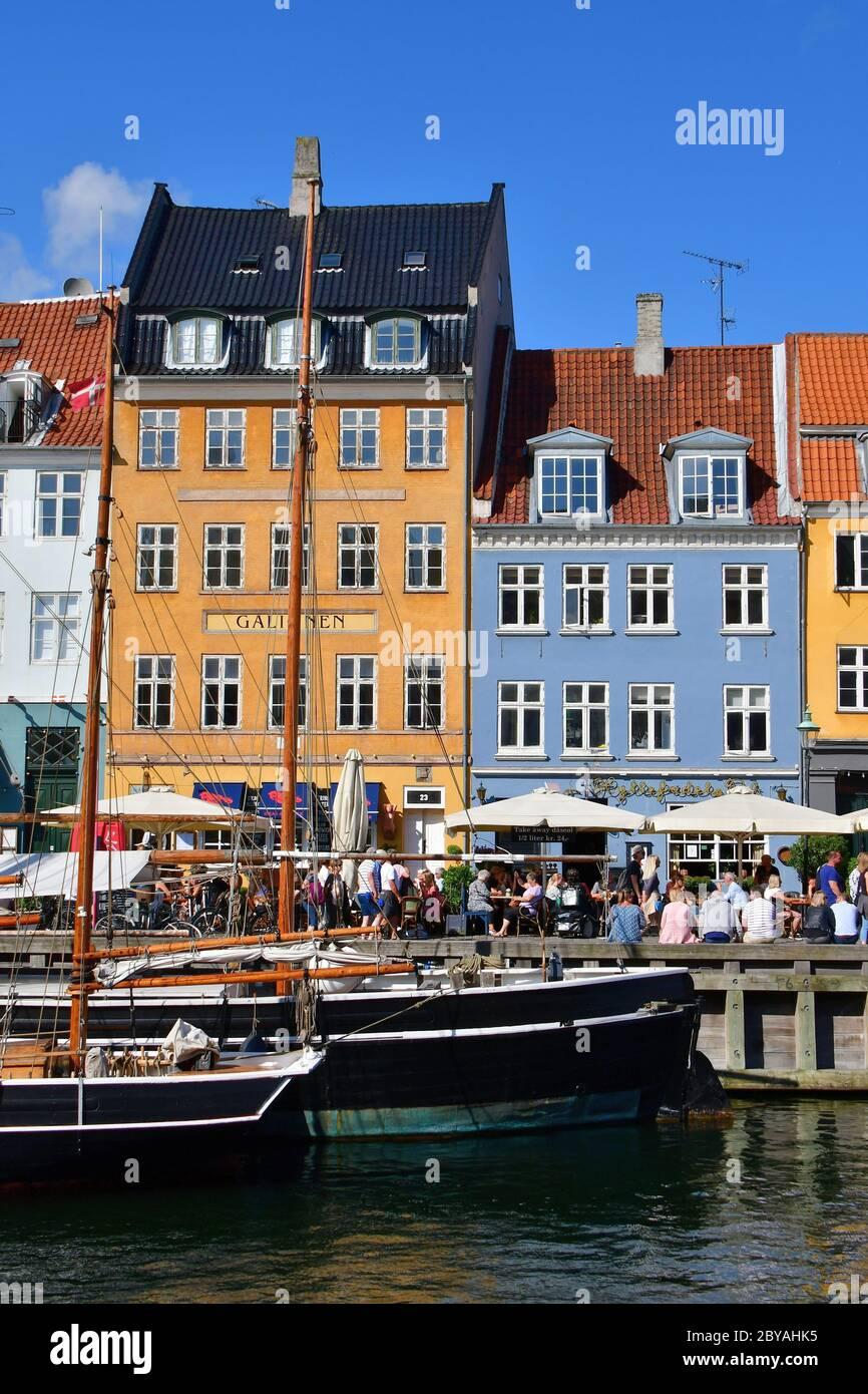 Nyhavn, New Harbour, Copenhague, København, Dinamarca, Europa Foto de stock