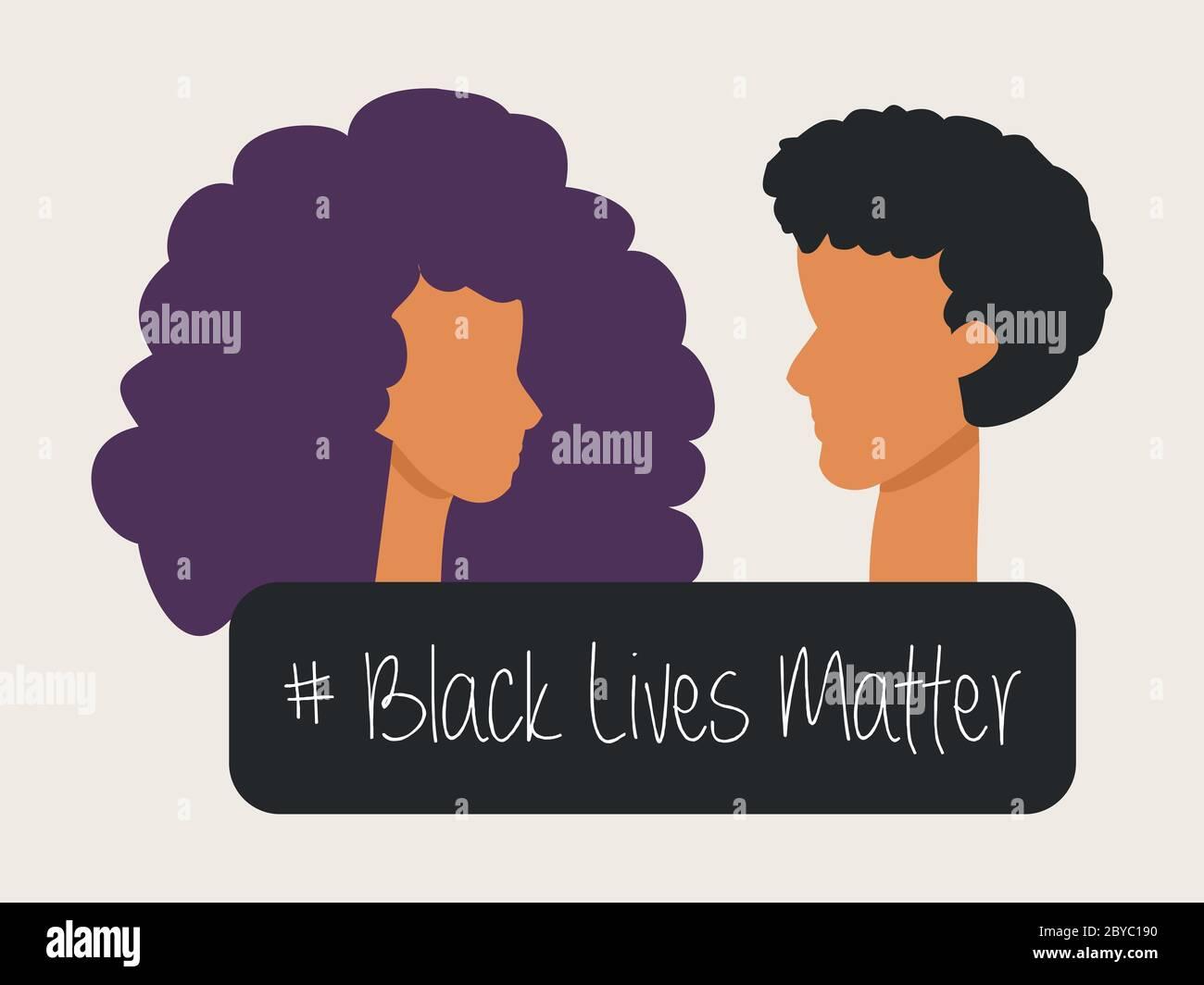Ilustración de una mujer afro-americana y un hombre víctima del racismo - la vida negra importa Foto de stock