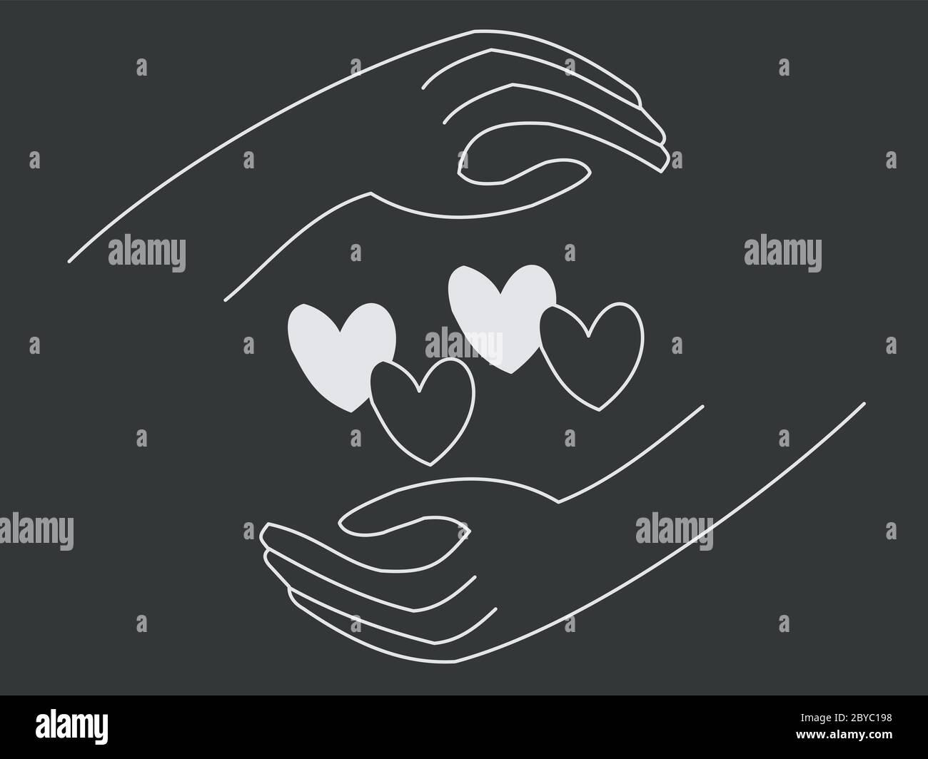 Ilustración de dos manos alrededor de corazones en diferentes colores - concepto de racismo e igualdad - vidas negras importan Foto de stock