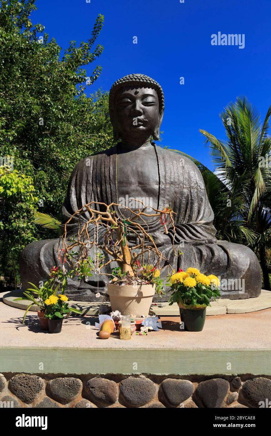 Gran Buda, Misión Lahaina Jodo, Lahaina, Isla Maui, Hawai, Estados Unidos Foto de stock